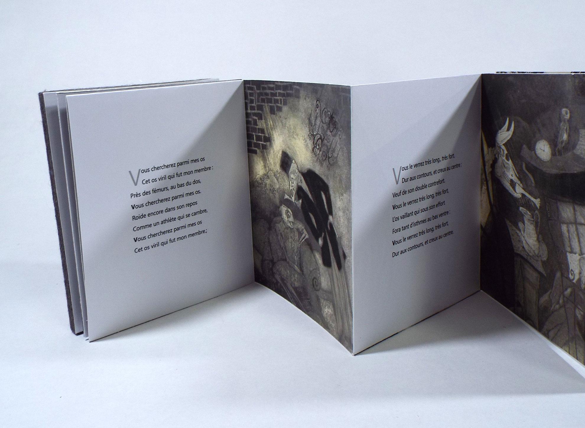 "Marie Christine Bourven, ""la flute,"" Digital, linocuts and Felt, Reims, France"