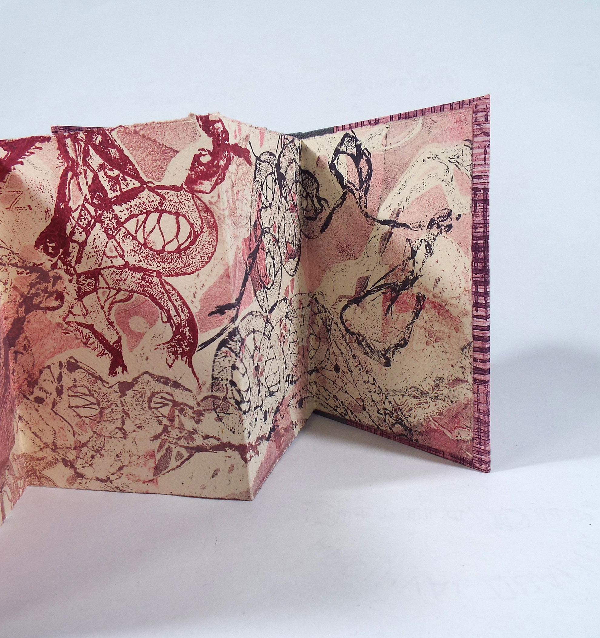 Cristina Hajosy, Lace Lost, Gelatin Plate Printmaking with Paste Paper cover, 2014, $125, Canton, MA