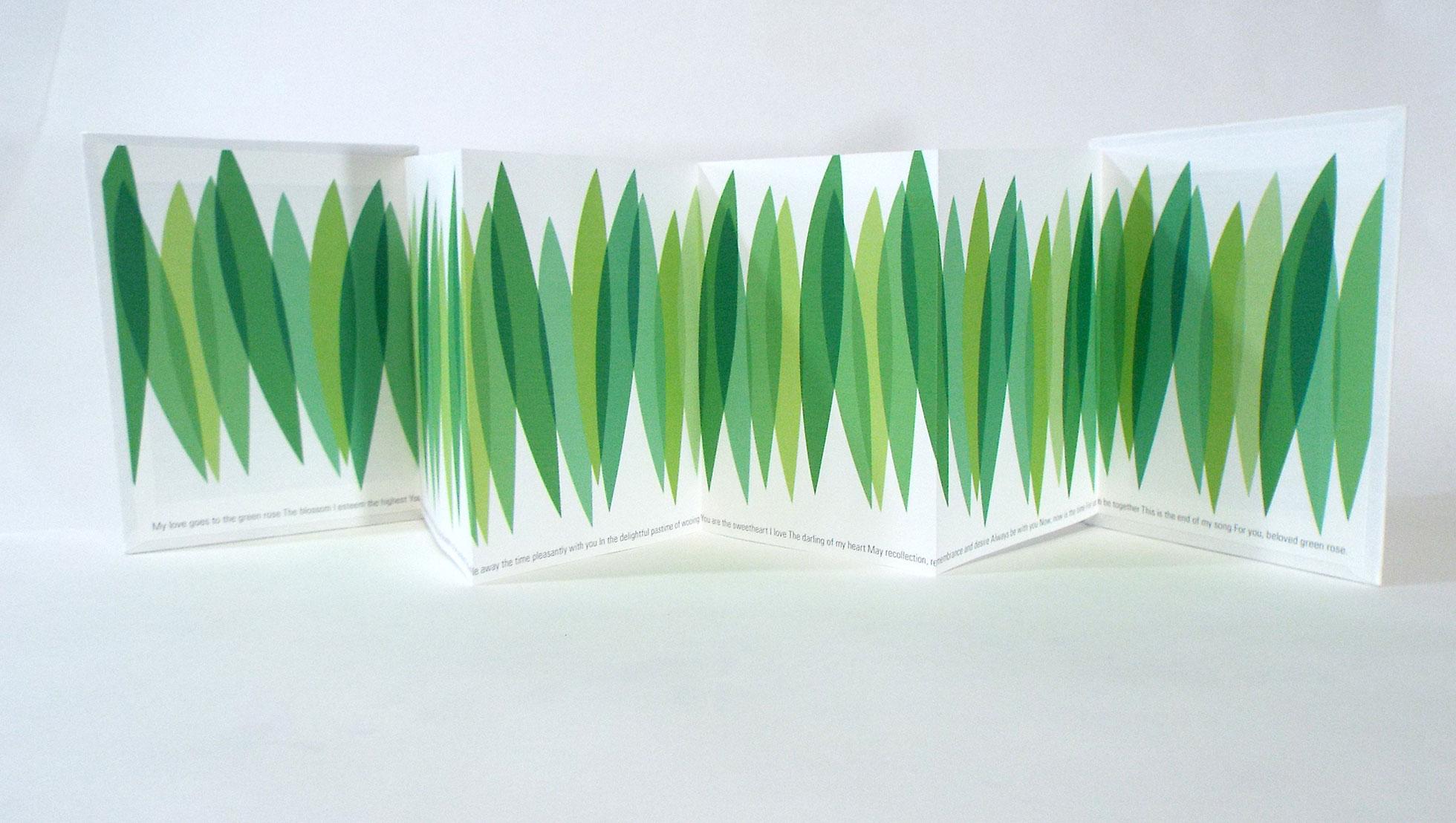 "Avril Makula, ""Green Rose Hula,"" Zerkall Paper, Pigment Inks, 2015, $60, Australia"