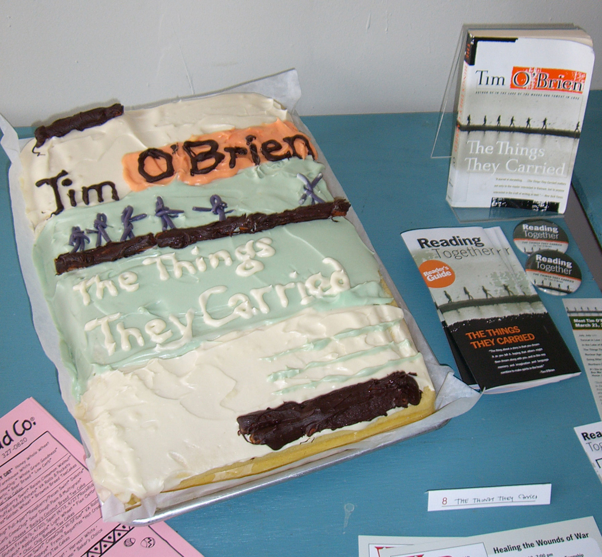 """The Things They Carried"" by Portage District Library Staff & Great Harvest Bread Co.; 2006 Edible Book Festival entry"