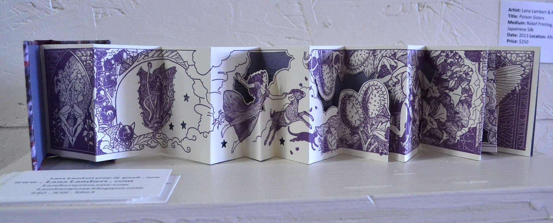 Lana Lambert & Frank Ricco Poison Sisters, Relief Printing, Italian Marble Paper, Japanese Silk, 2013, $250