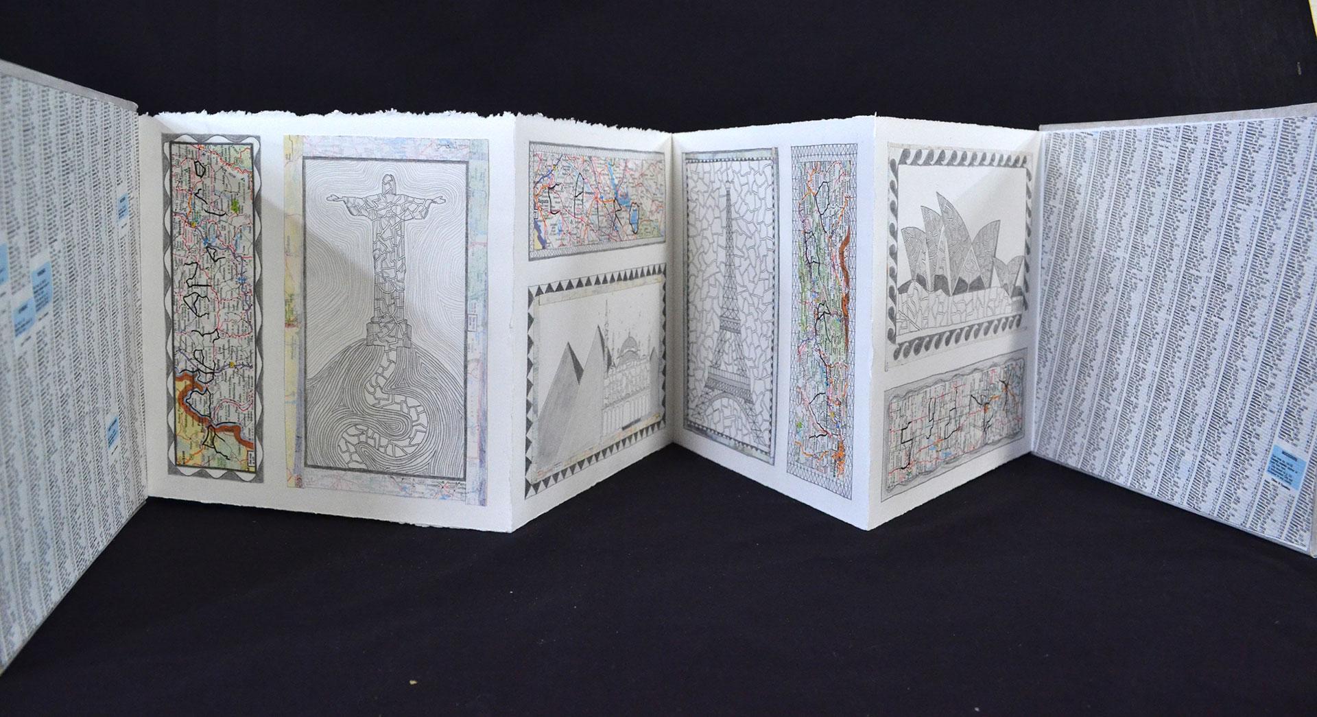 "Brooklynn Green, ""World View,"" Maps, Pen, Pencil, Gesso, 2015"