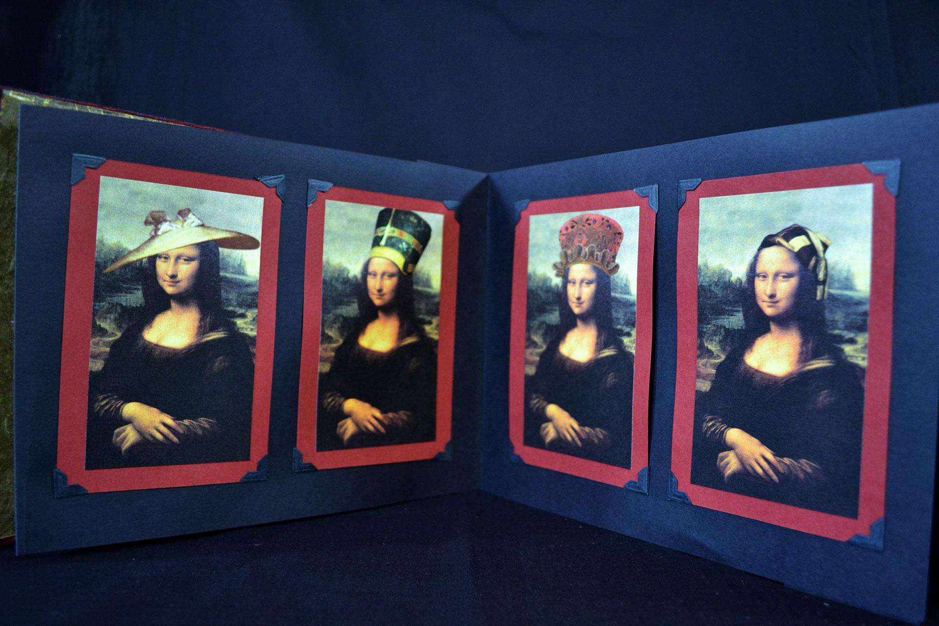 """Virginia Guzior, """"A Hat for Mona,"""" Bookcloth, Paper, Digital Prints, 2000"""