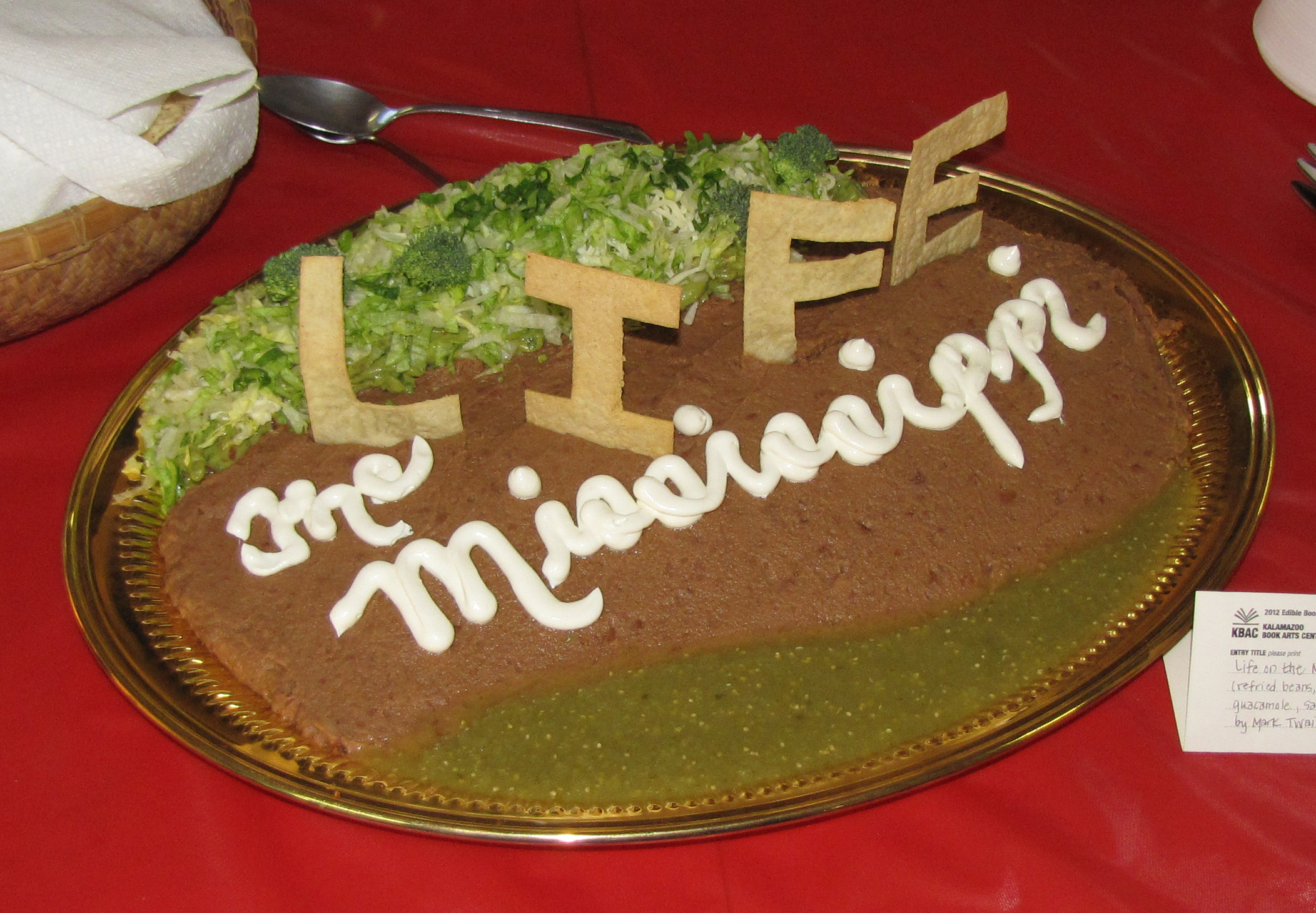 """JUDGE'S CHOICE: """"Life on the Mississippi,"""" by Mark Twain, created by Amy Ferguson, Edible Book 2012."""