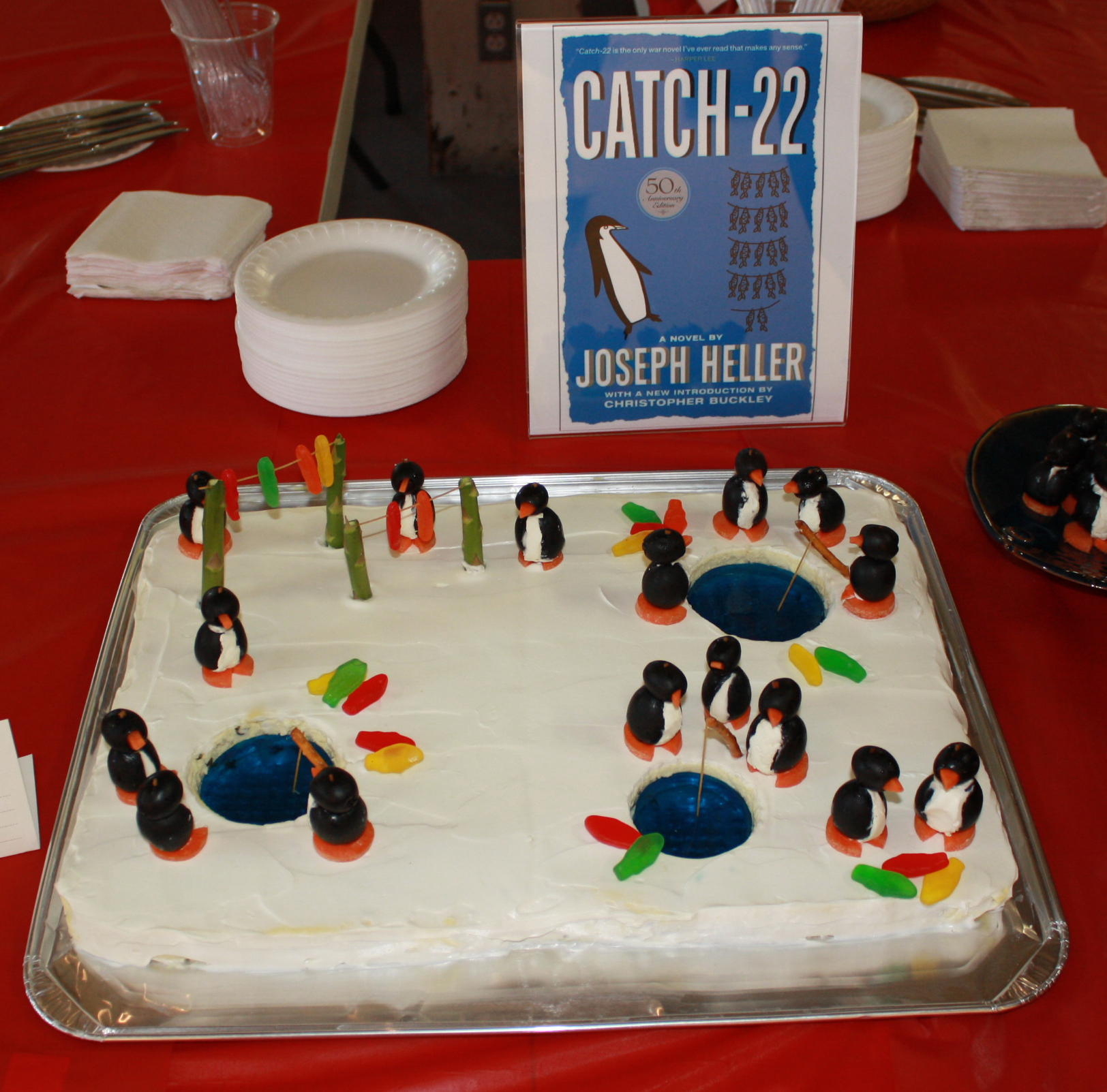 """PEOPLE'S CHOICE: """"Catch-22,"""" by Joseph Heller, created by The Tiara Book Club, Edible Book 2012."""