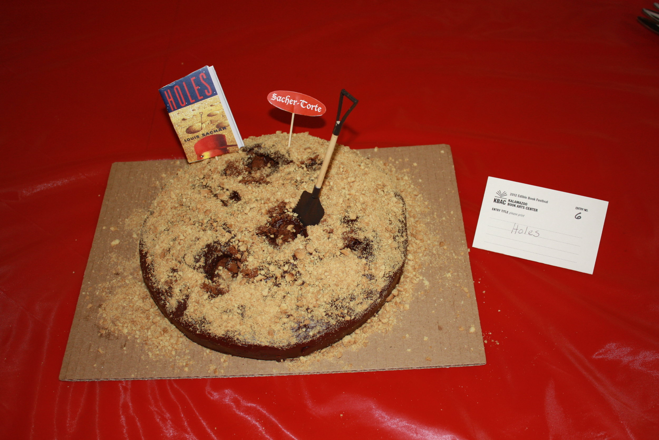 """""""Holes,"""" by Louis Sachar, created by Jamie Bynum, Edible Book 2012."""
