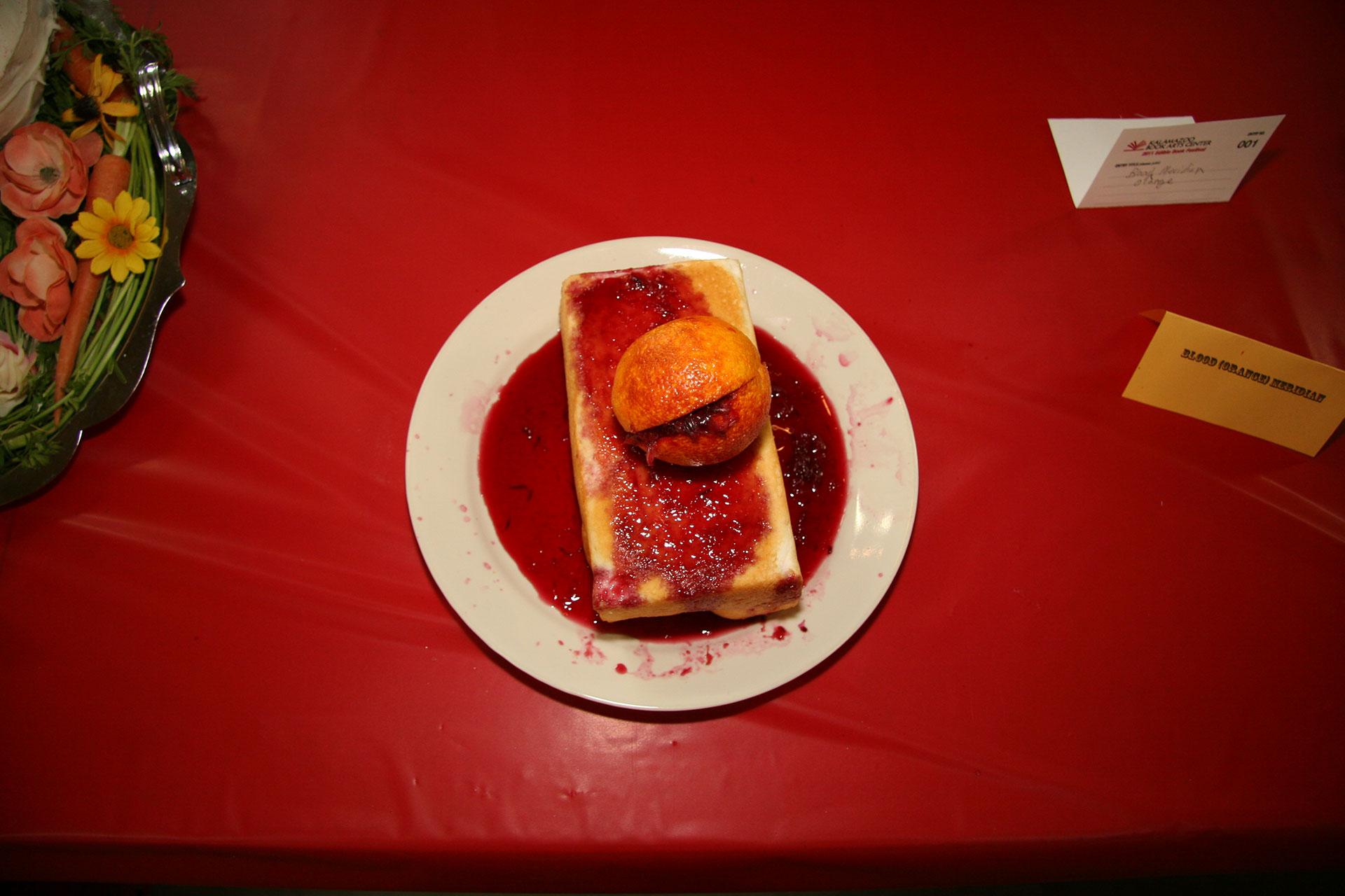 """""""Blood Orange Meridian"""" created by Katie Platte; 2011 KBAC Edible Book entry"""