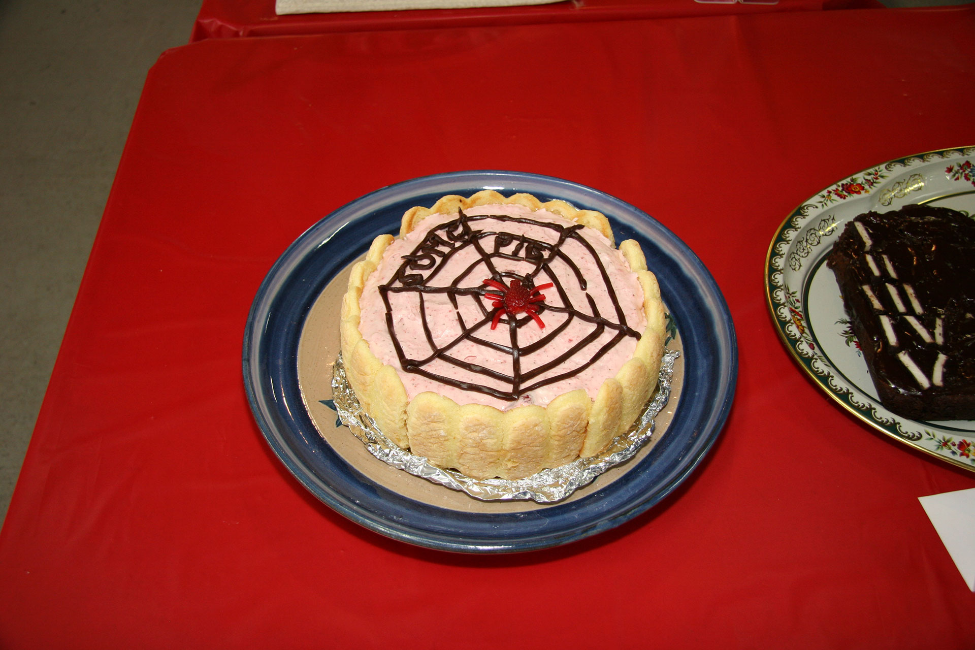 """""""Strawberry Charlotte's Web"""" created by: Linda Mah and the Bus Up Roadies; 2011 KBAC Edible Book entry"""