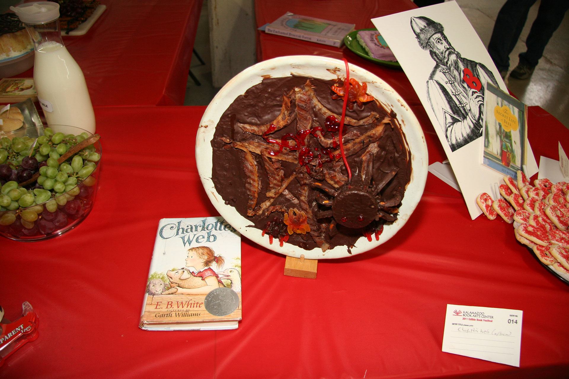 """""""Charlotte's Web (with bacon)"""" created by Jon Holtzman; 2011 KBAC Edible Book entry"""