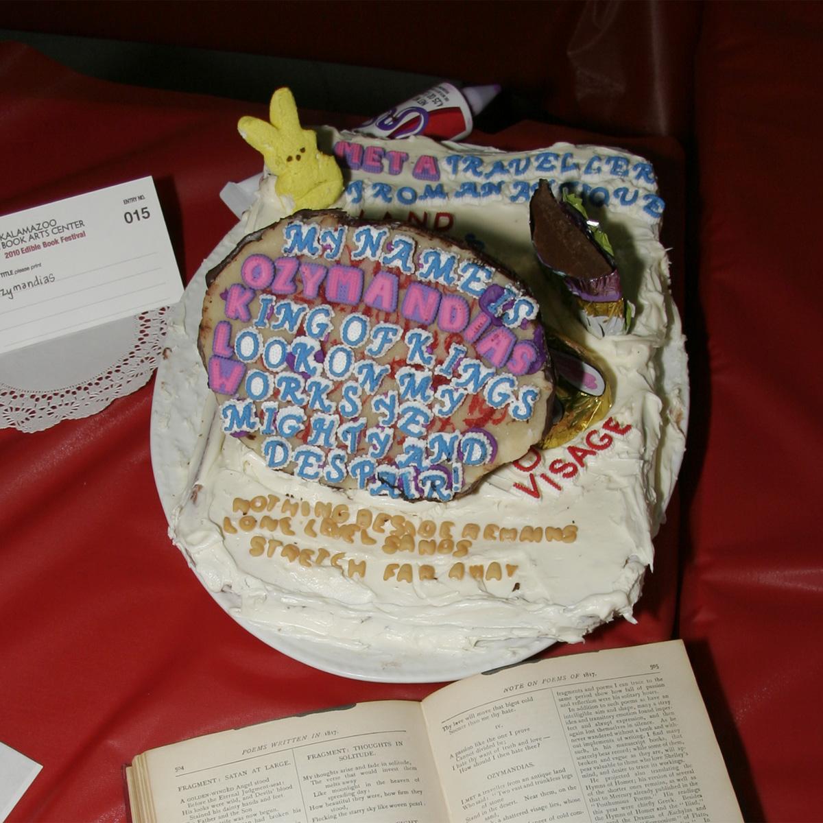 """Ozymandius"" created by Jon Holtzman, 2010 KBAC Edible Book Festival"