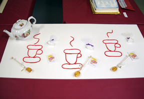 """Three Cups of Tea"" by the Brown Sugar Book Club; 2009 Edible Book Festival entry"