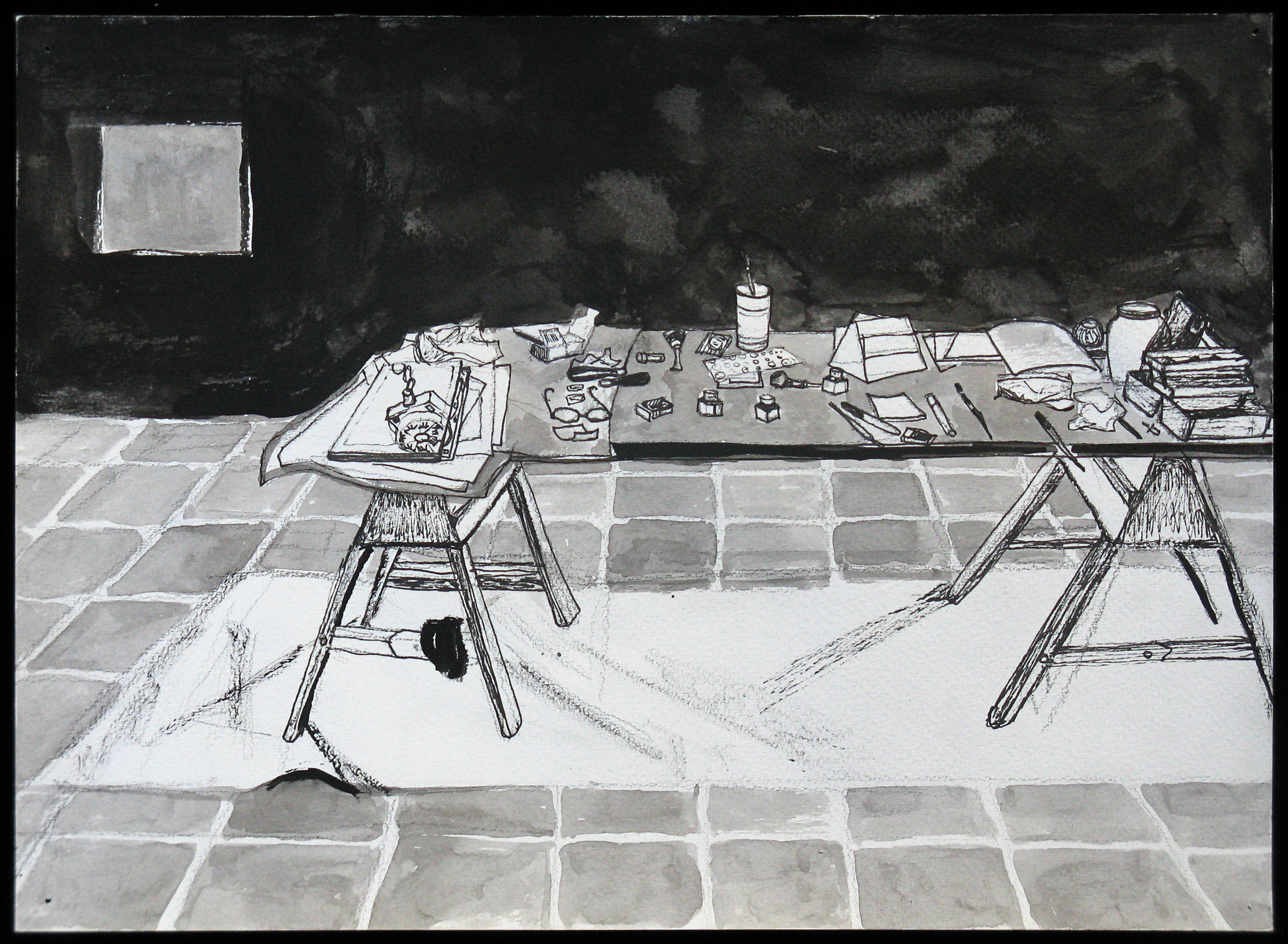 "Kip Deeds, ""Work Table"" pen and ink drawing"