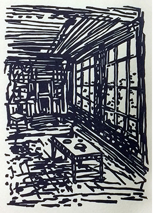 Linocut from Songs of an Abandoned Place by Jeff Abshear