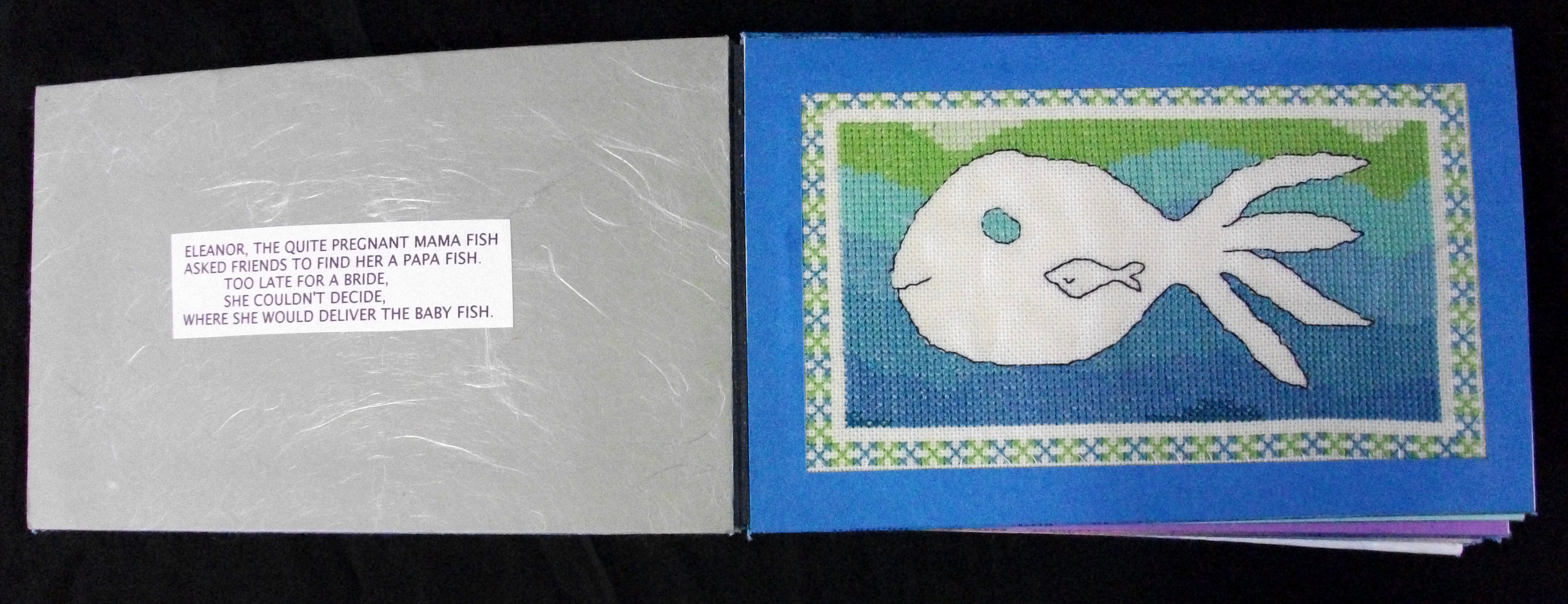 Garland Lewis,  Sea Creatures,  Embroidered Accordion Book, 2011, Ann Arbor, MI