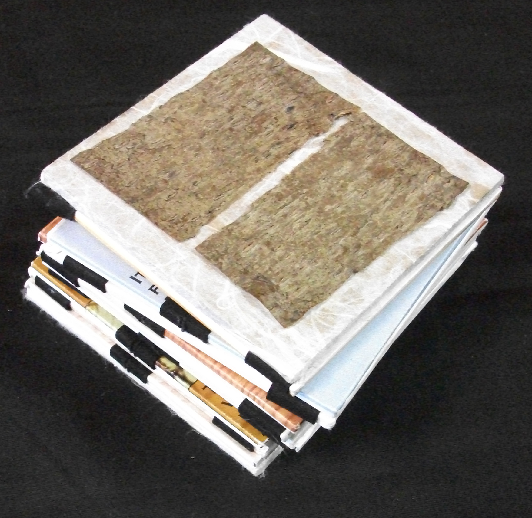 Nancy Patrick Young,  The History of Paper,  Jacob's Ladder Form, Seam Binding, Book Board, Paper, Bark, 2007, Kalamazoo, MI