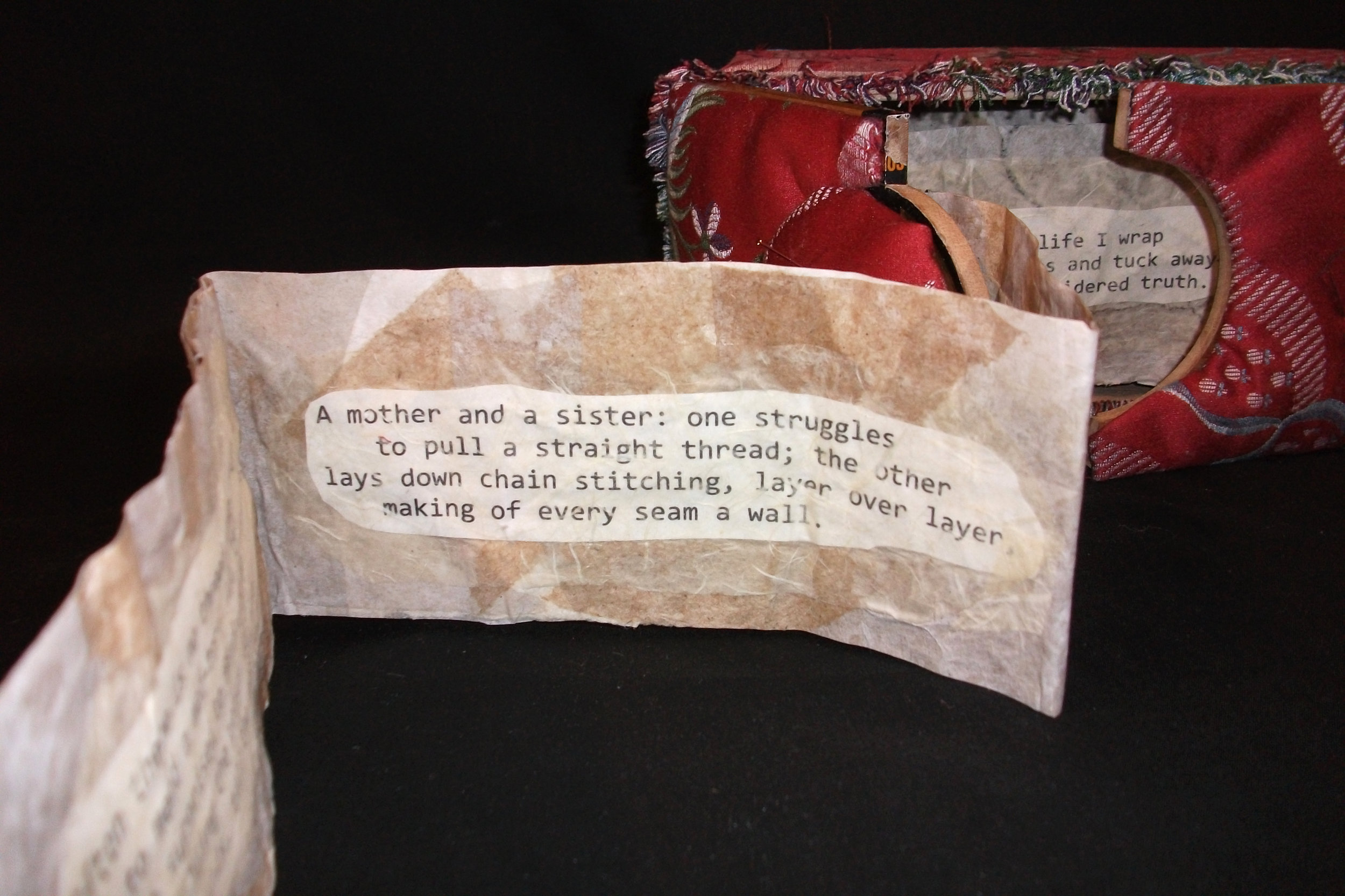 Lynn Pattison,  A Stitch in Time,  fabric, Wood, Paper, 2012, Kalamazoo, MI
