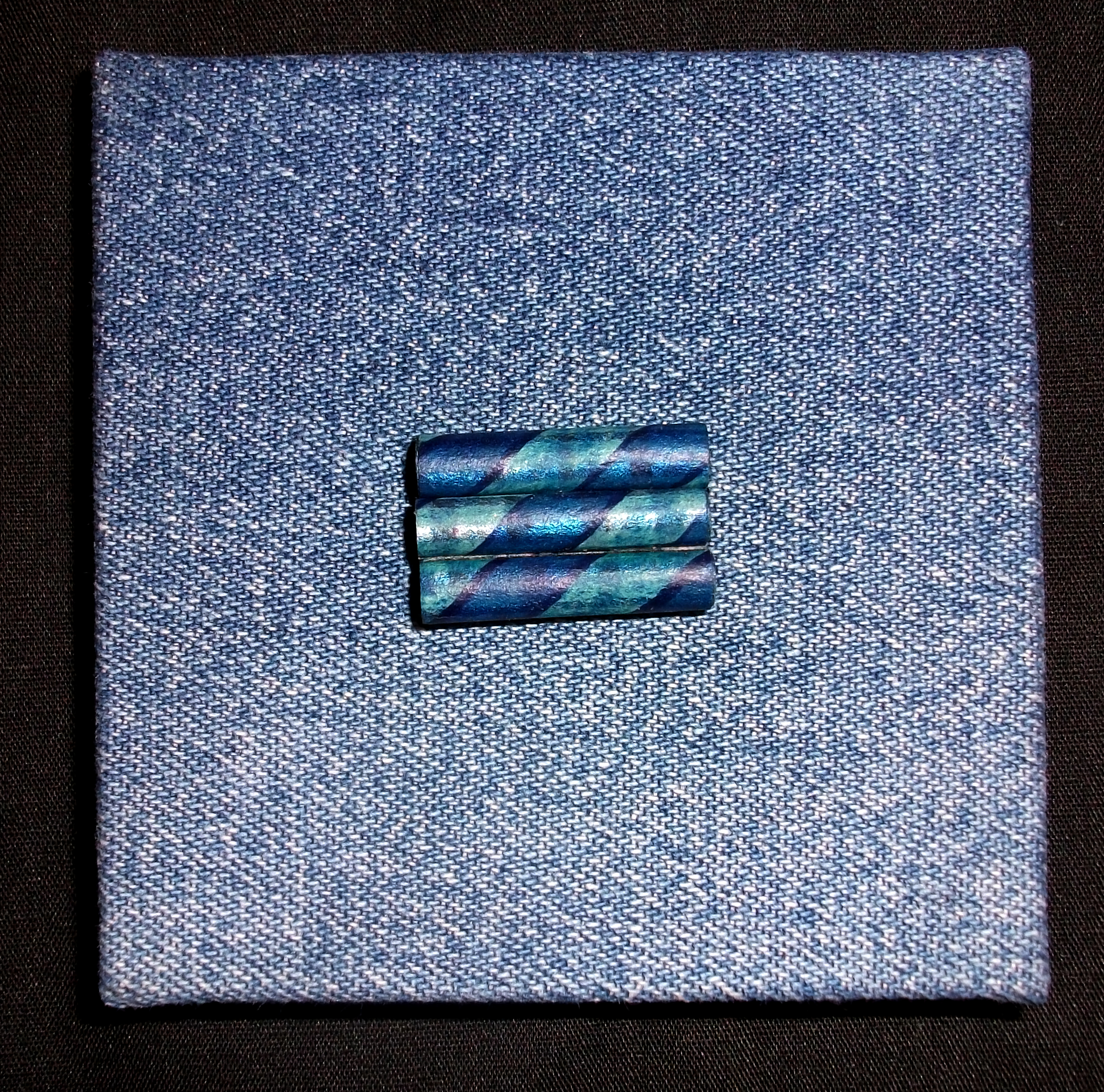 Some Blues, Lou Kroner, Inkjet printed on Canson paper, paste paper end papers and beads, recycled bluejeans, Ohio, 2011,