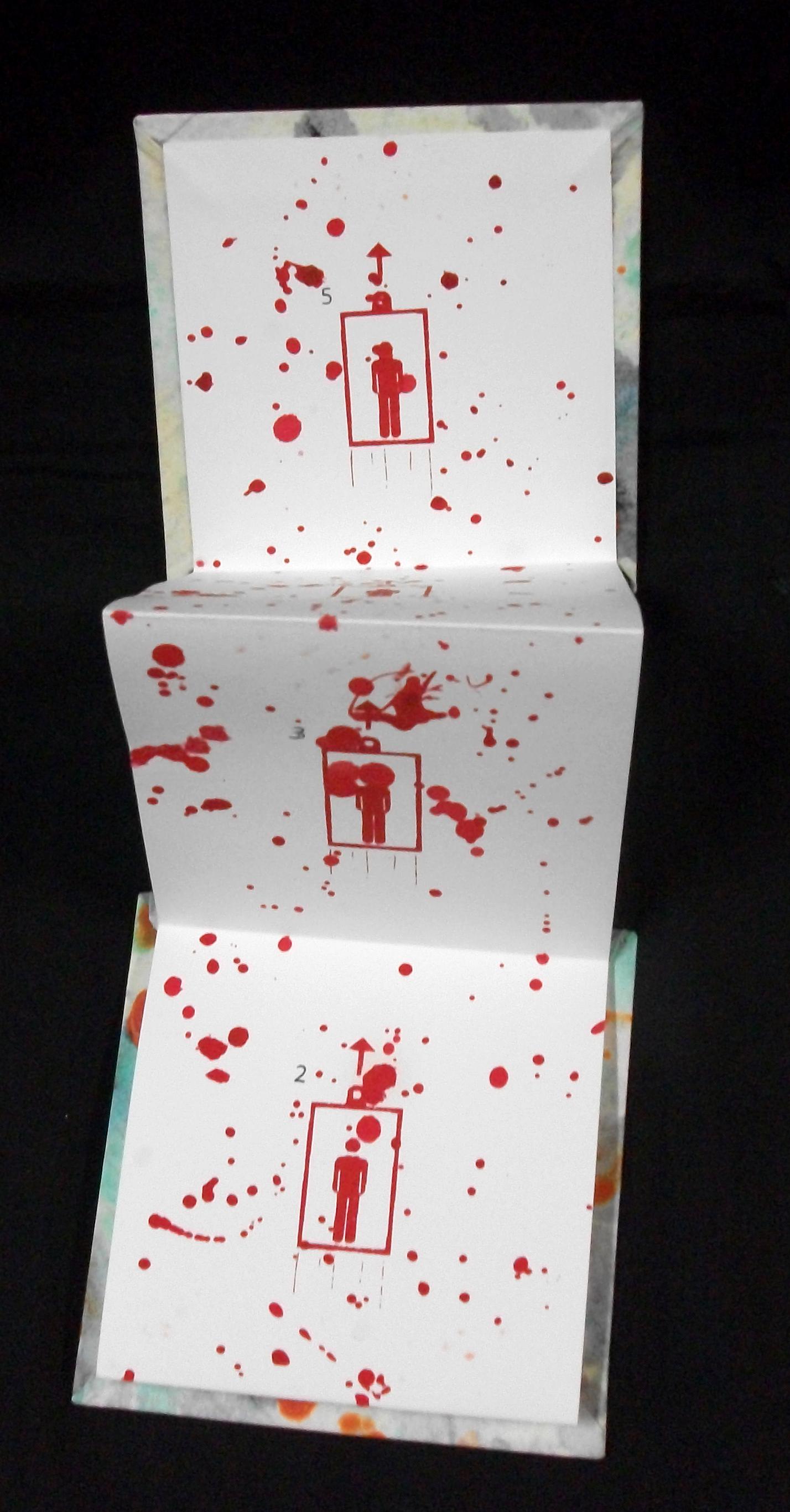 Death by Elevator, John (Ted) Thomas, Paste Paper, Screen Print on Reeves BFK, Virginia, 2011