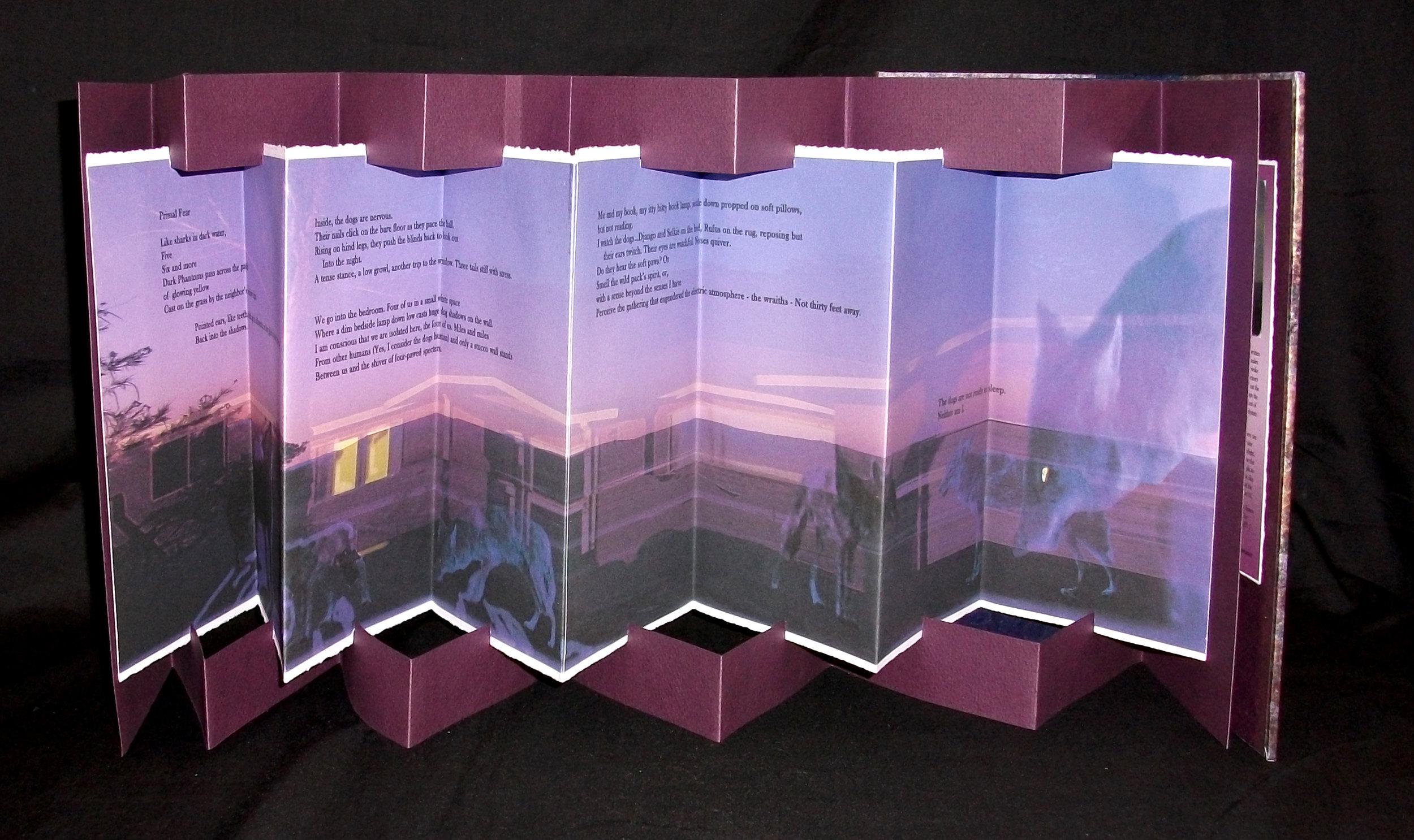 Primal Fear: A Poem, Margo Lemieux, Rives BFK, Strathmore, handmade paste paper, photography, Massachusetts, 2007