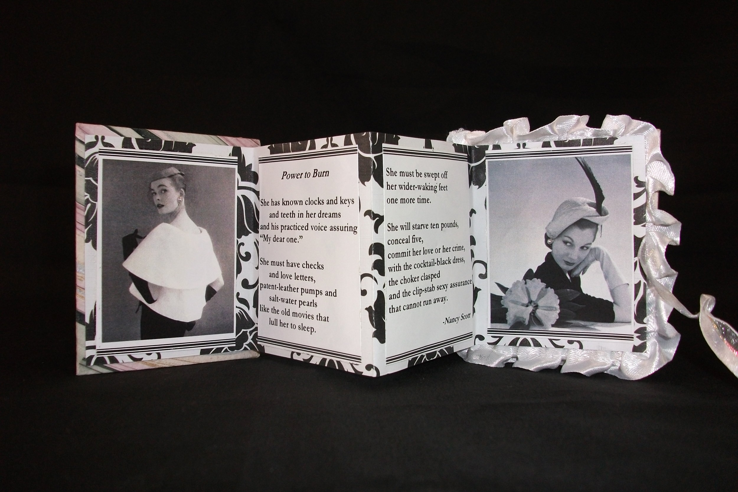 Pumps and Pearls,Maryann Riker, JUSTARIP Press, Artist book-Book Board, Paper, Ribbon, Pearls, New Jersey, 2010