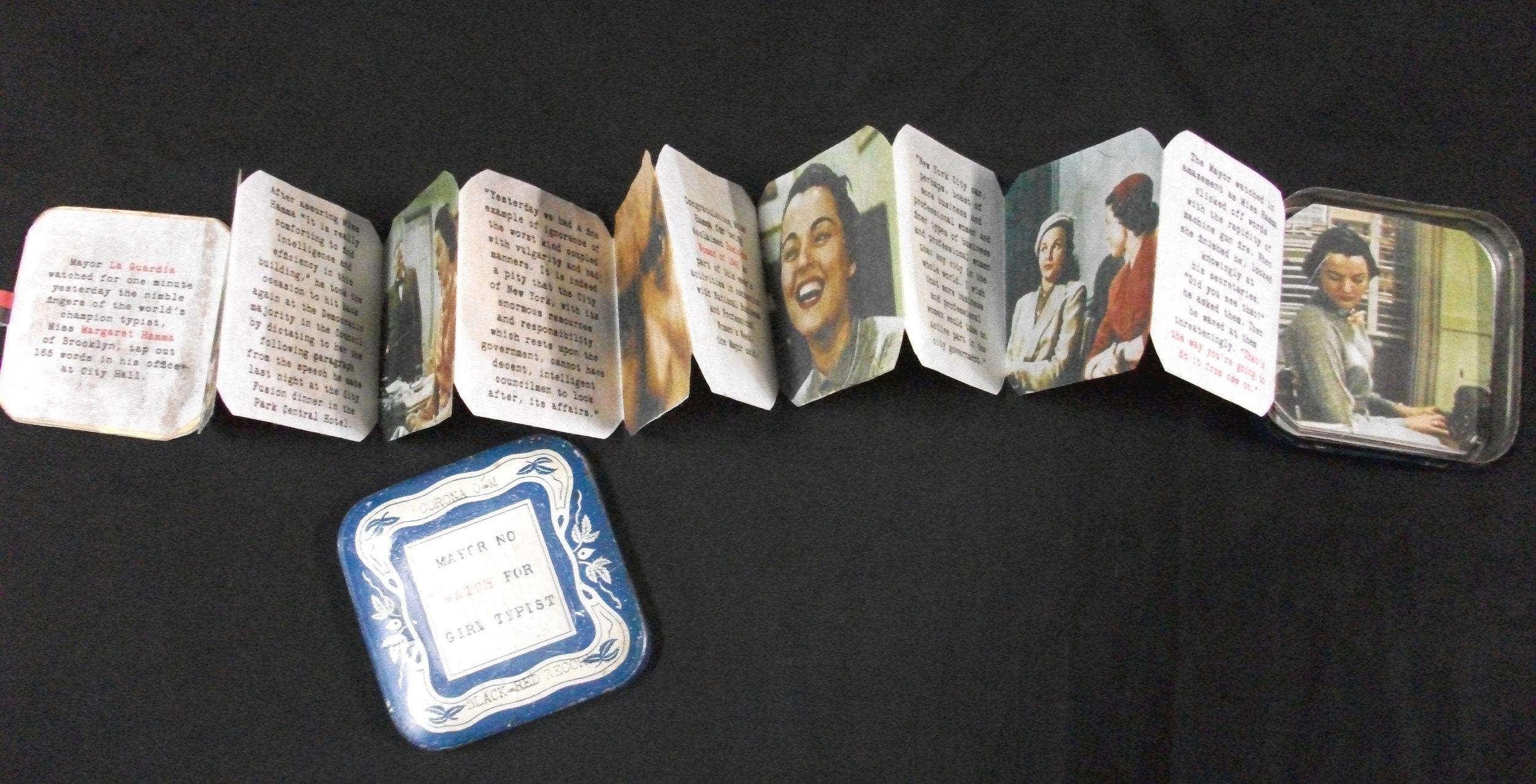 Mayor No Match for Girl Typist, Patricia Sahertian, Mixed Media, Inkjet on Paper, Cardboard, Tin, Arizona, 2011