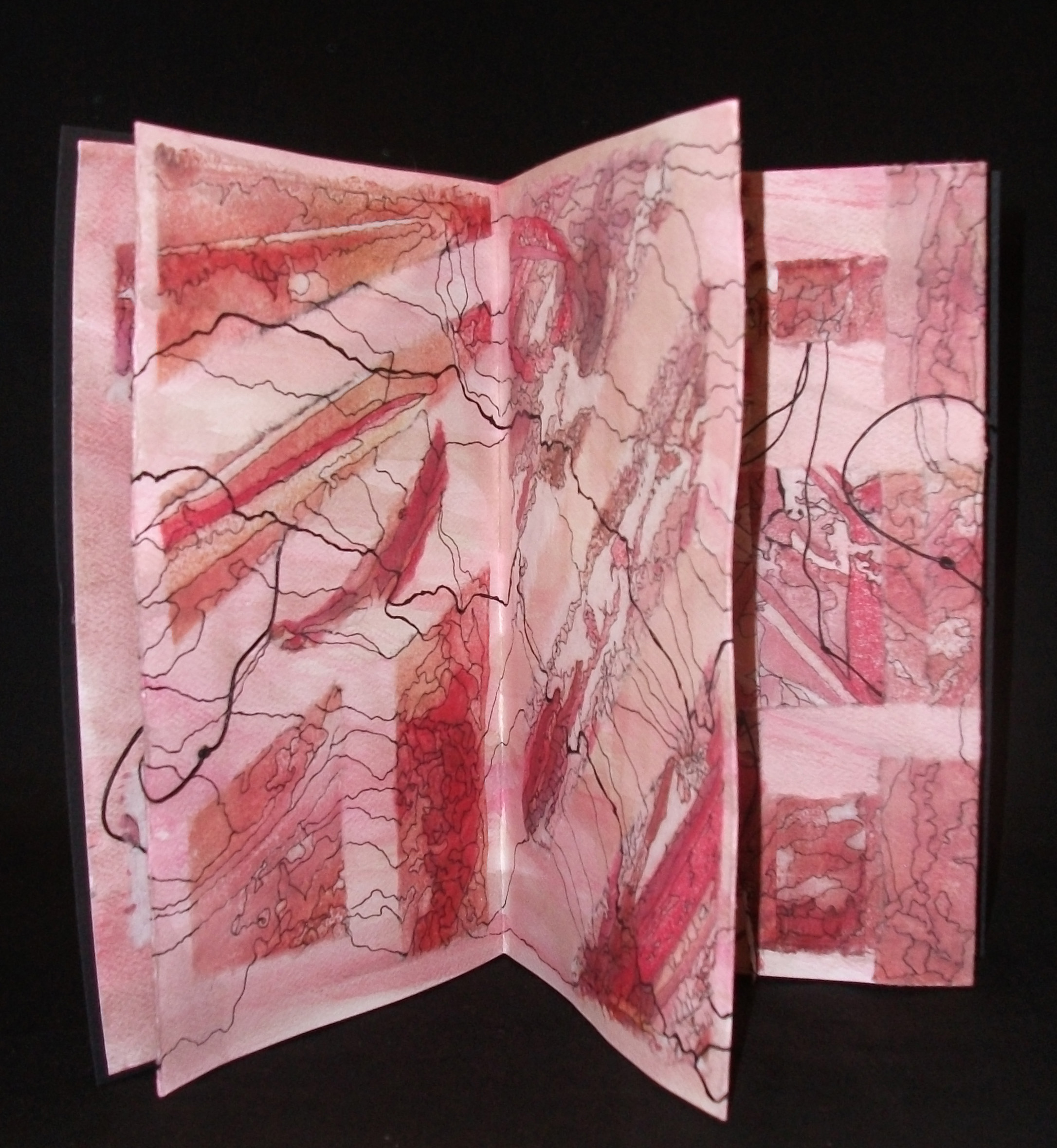 Pathways, Allison Roscoe, Encaustic, Paper, Ink, North Bennington, 2011