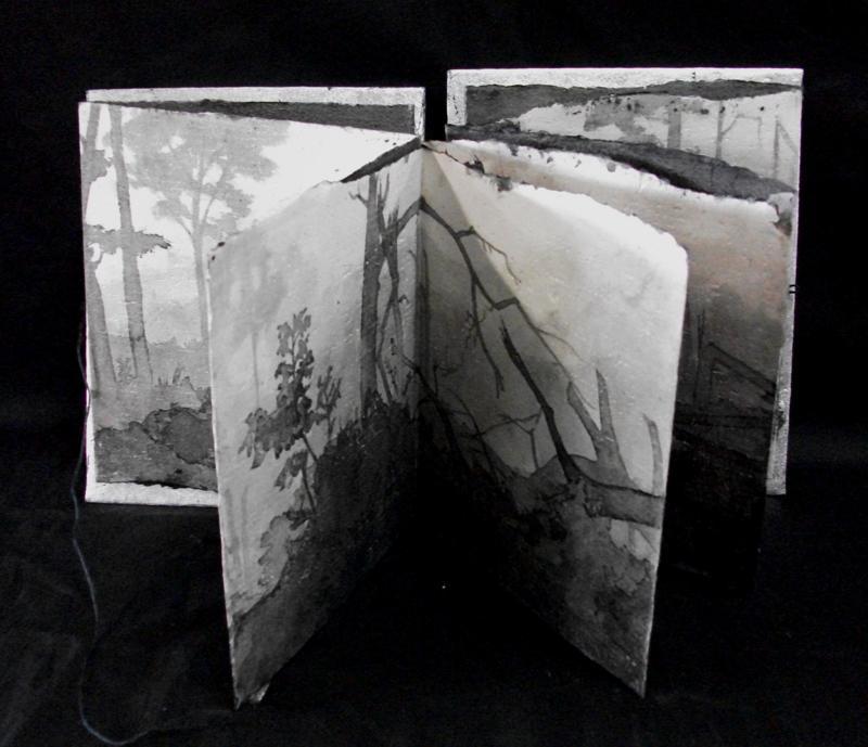 Catherine Nash, Aftermath, Sumi ink wash, accordion folded handmade abaca paper, metal leafing, 2005