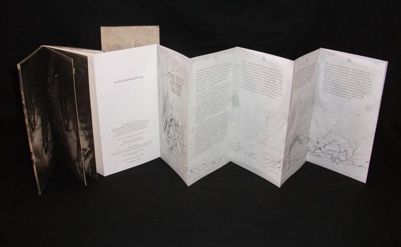 Ladislav Hanka, Text of the River, Binding by Jan Sibota, Printed Leather Etching Endpapers, offset Text