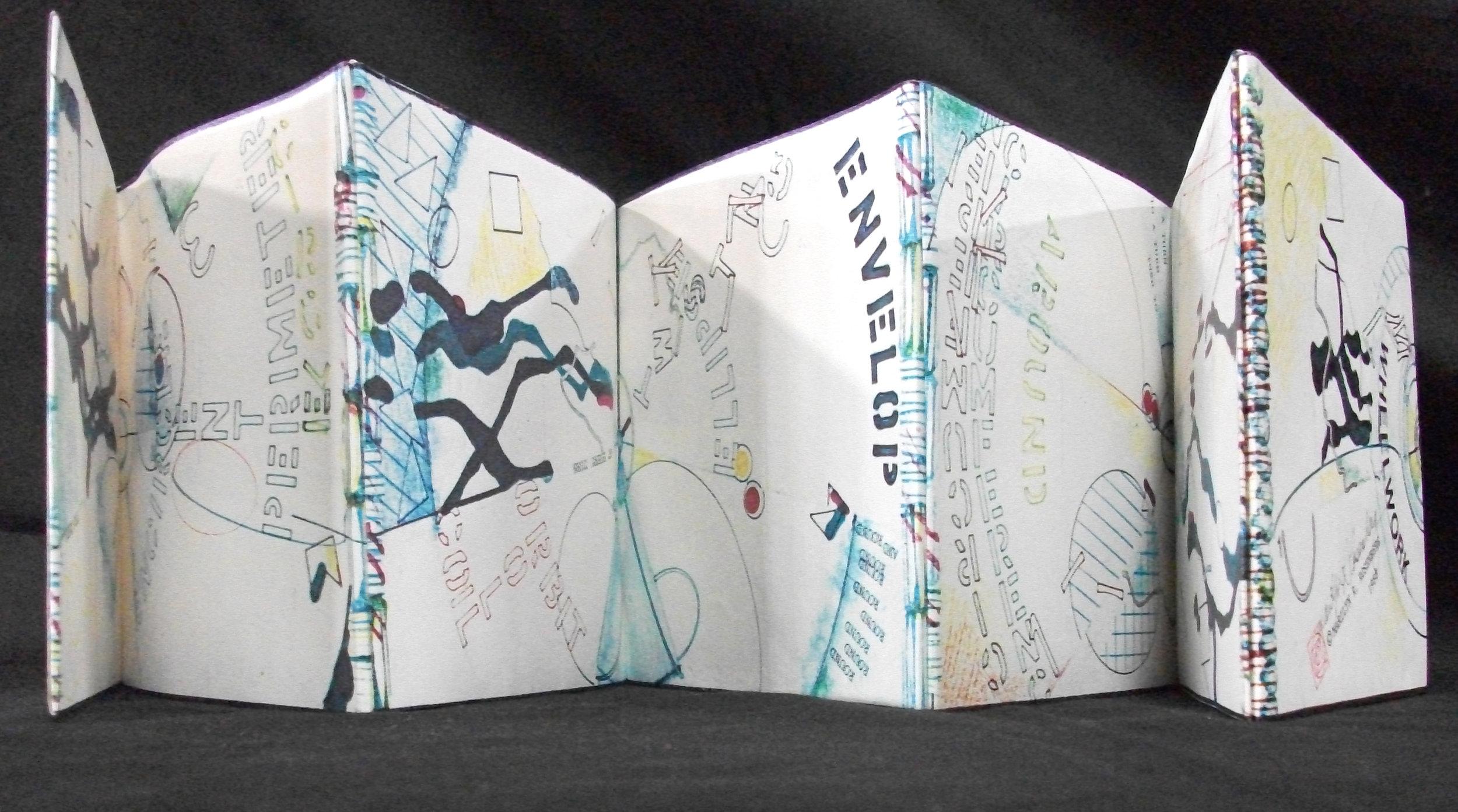 Marilyn R. Rosenberg, Wheelwork, Part rag paper, zerox color copy, acid free glue, visual poetry, 1989