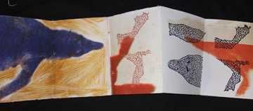 Pamela Drix, Wolves Bisected, 2 accordion book, printed on both sides, gum transfer, screen-print, monoprint, Xerox on vellum, animal vellum, artificial sinew on BFK Rives, 2009