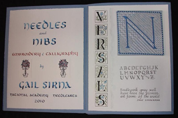 Gail Carolyn Sirna, Needles and Nibs, Calligraphy and Fine Embroidery, 2010