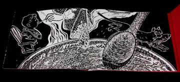 Laurie Corral, Book Works, Eat Me, Drink Me, Linocut, Handset Type, Flocking, 2010