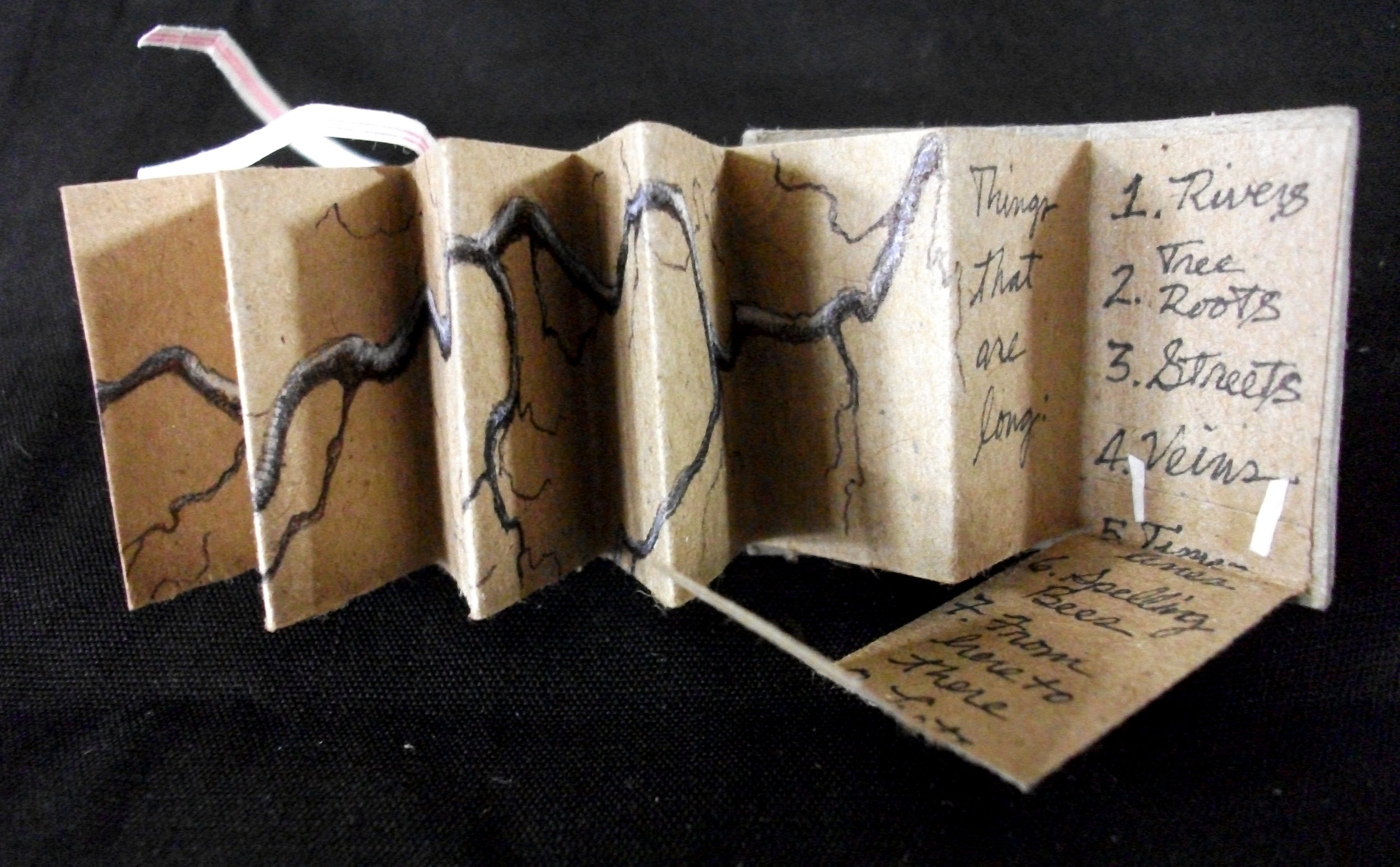 """Cynthia Gregory, """"Things That are Long,"""" Cereal Box, Craft Paper, Ink, Acrylic, 2013, Fort Thomas, KY"""