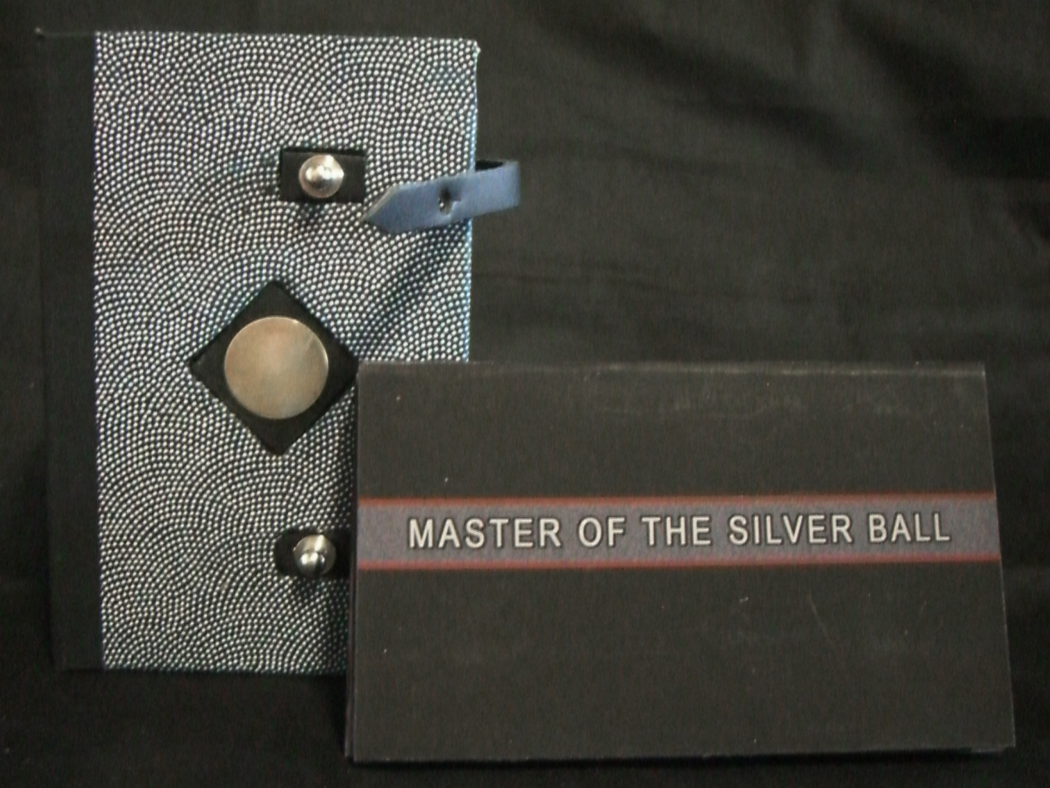 """Robert Hunter, """"Master of the Silver Ball,"""" digital imaging-archivial Ink Jet print on Somerset paper book board, leather straps, Japenese decorative Paper, Silver Disk, 2013"""