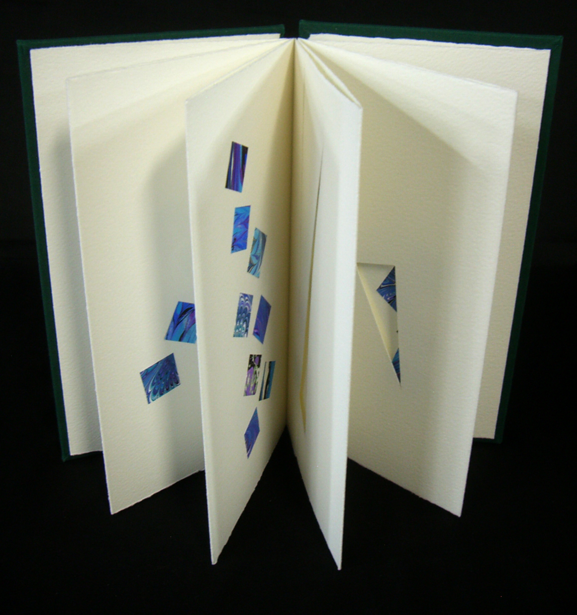 """Elizabeth Teviotdale, """"Spolia,"""" Accordion book (paper, boards, bookcloth) with applied hand-marbled paper, 2014, Kalamazoo, MI"""