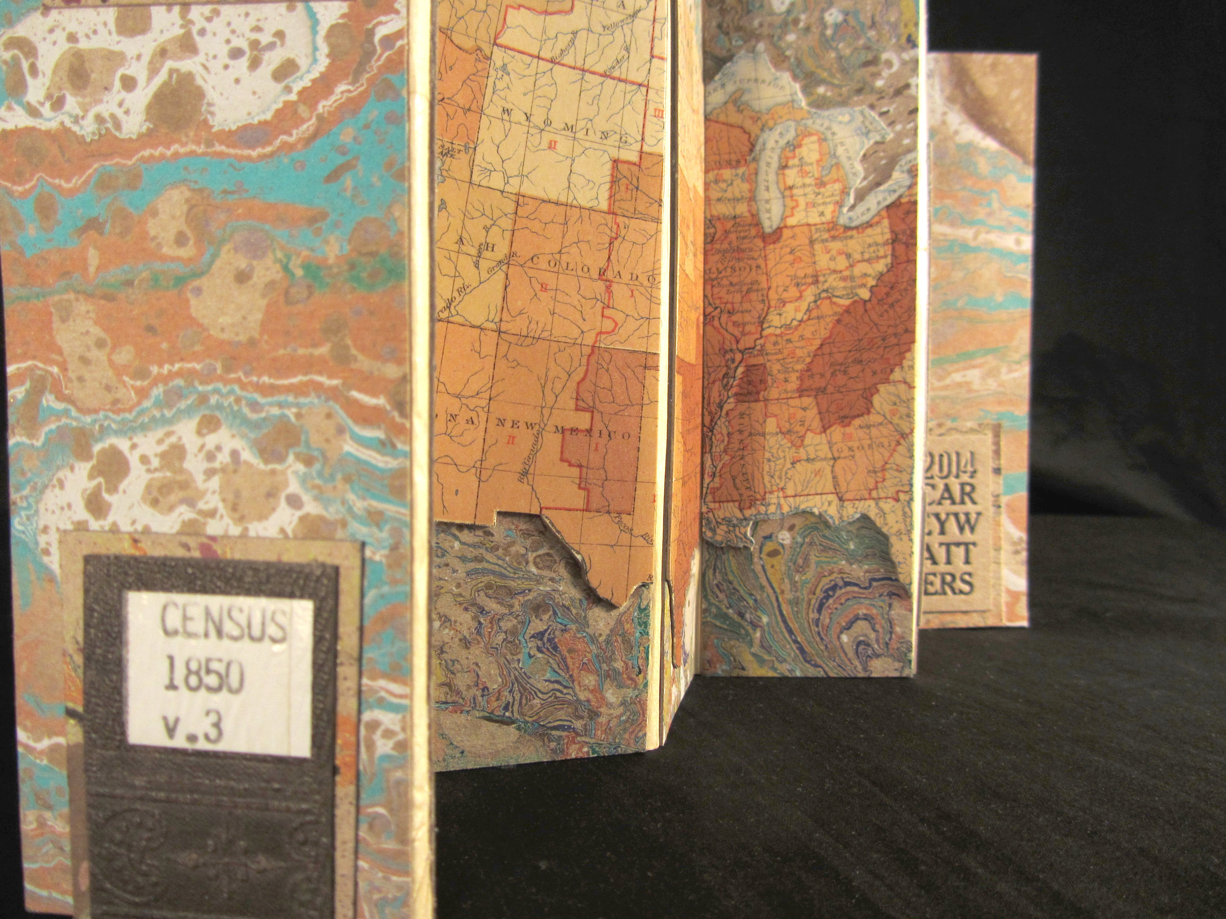 """Carey Watters, """"1850 Census,"""" Found Paper, Letterpress, Marbled Paper, 2014, Milwaukee, WI"""