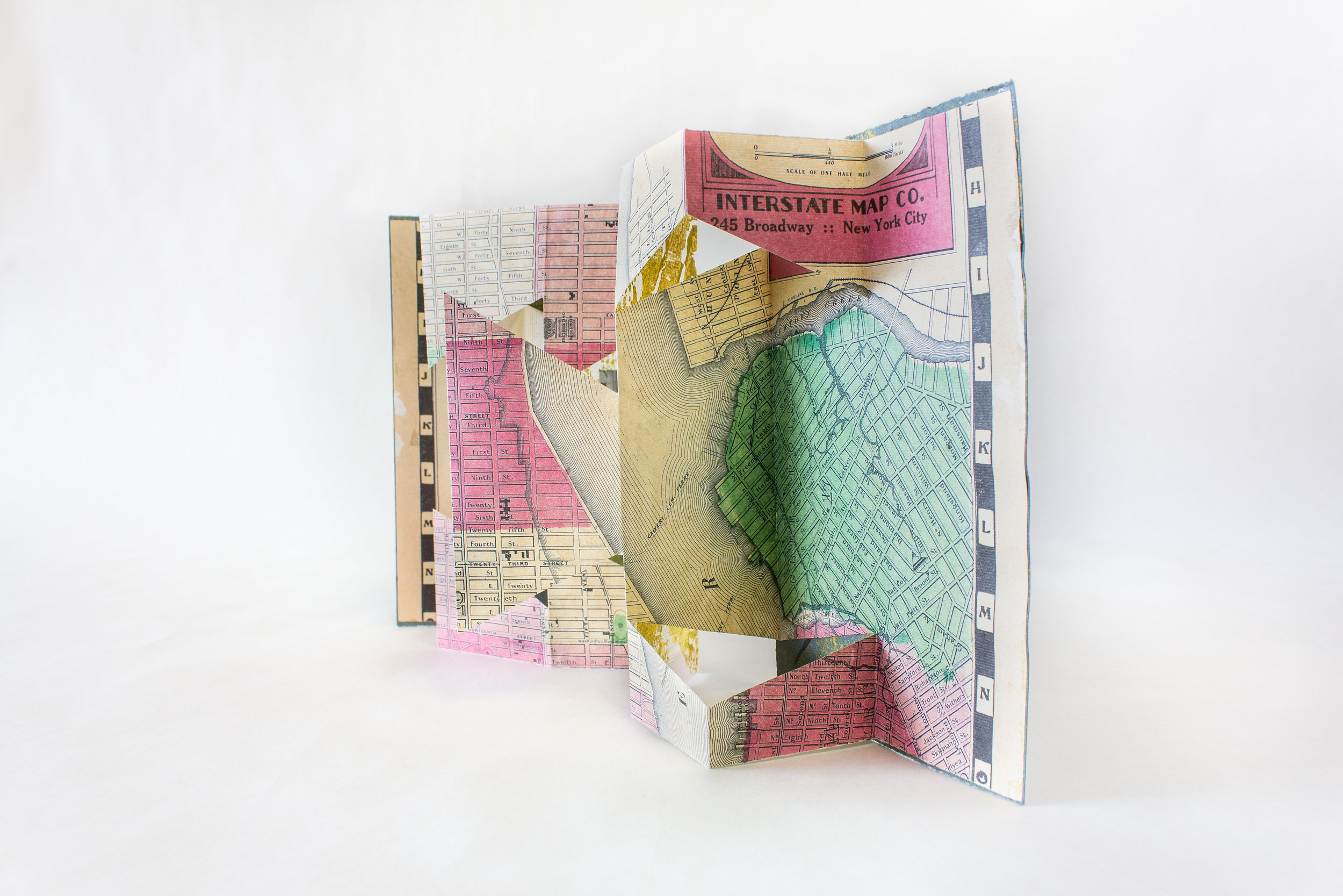 "Claire Marcus, ""Arts and Sciences,"" Pop-up accordion, relief printed, photographs, 2019 $95, Bethlehem, PA"