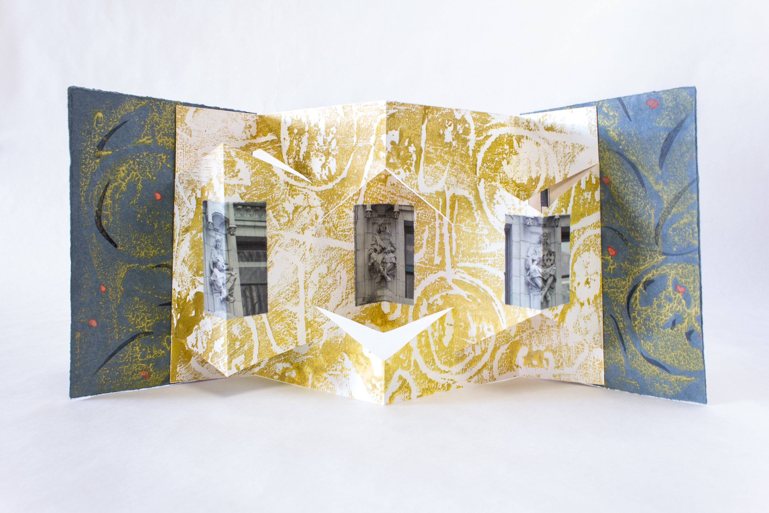 """Claire Marcus, """"Arts and Sciences,"""" Pop-up accordion, relief printed, photographs, 2019 $95, Bethlehem, PA"""