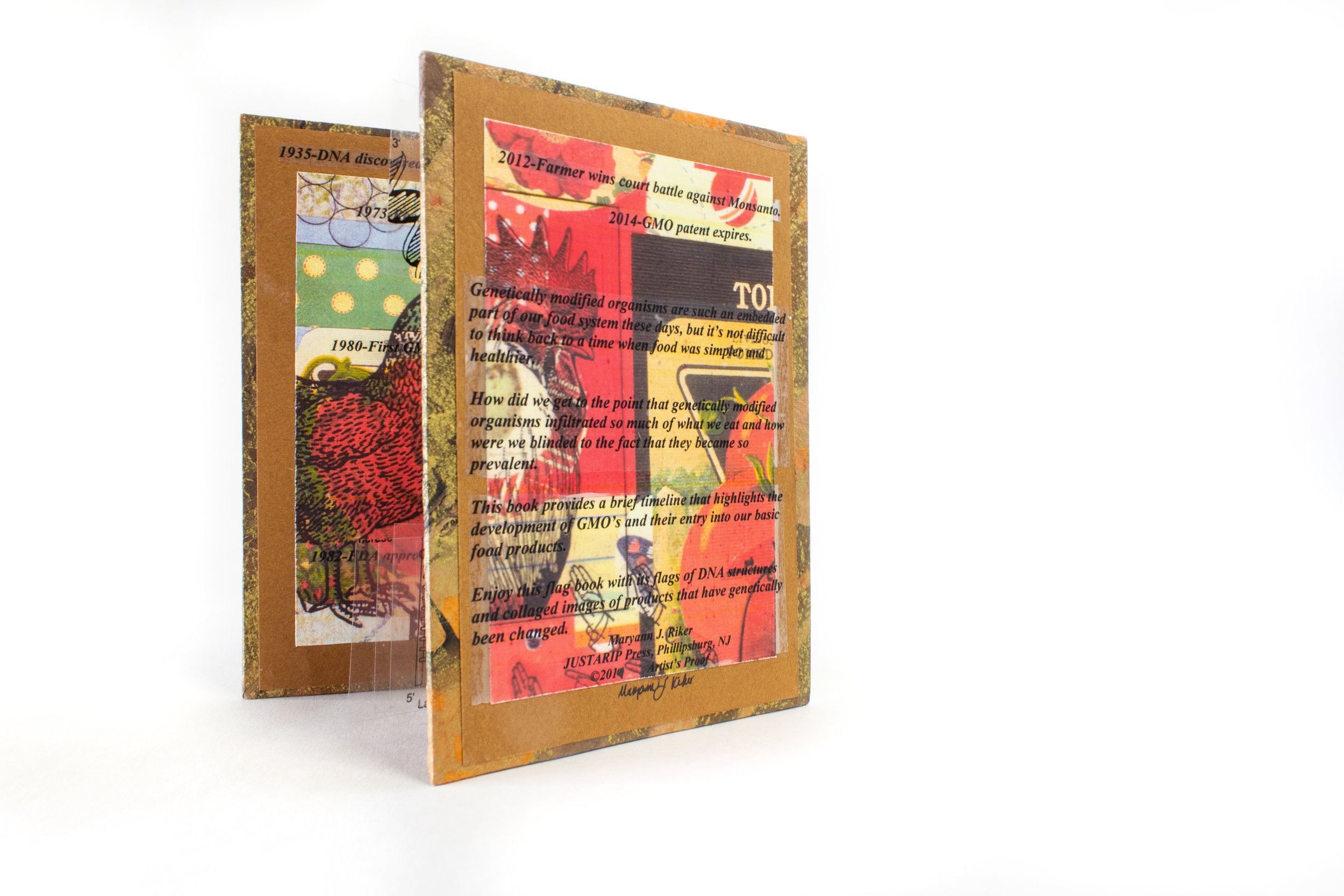 "Maryann Riker, ""Blinded to GMO's,"" Binder's Board, Cardstock, Acetate, 2019, $75, Phillipsburg, NJ"