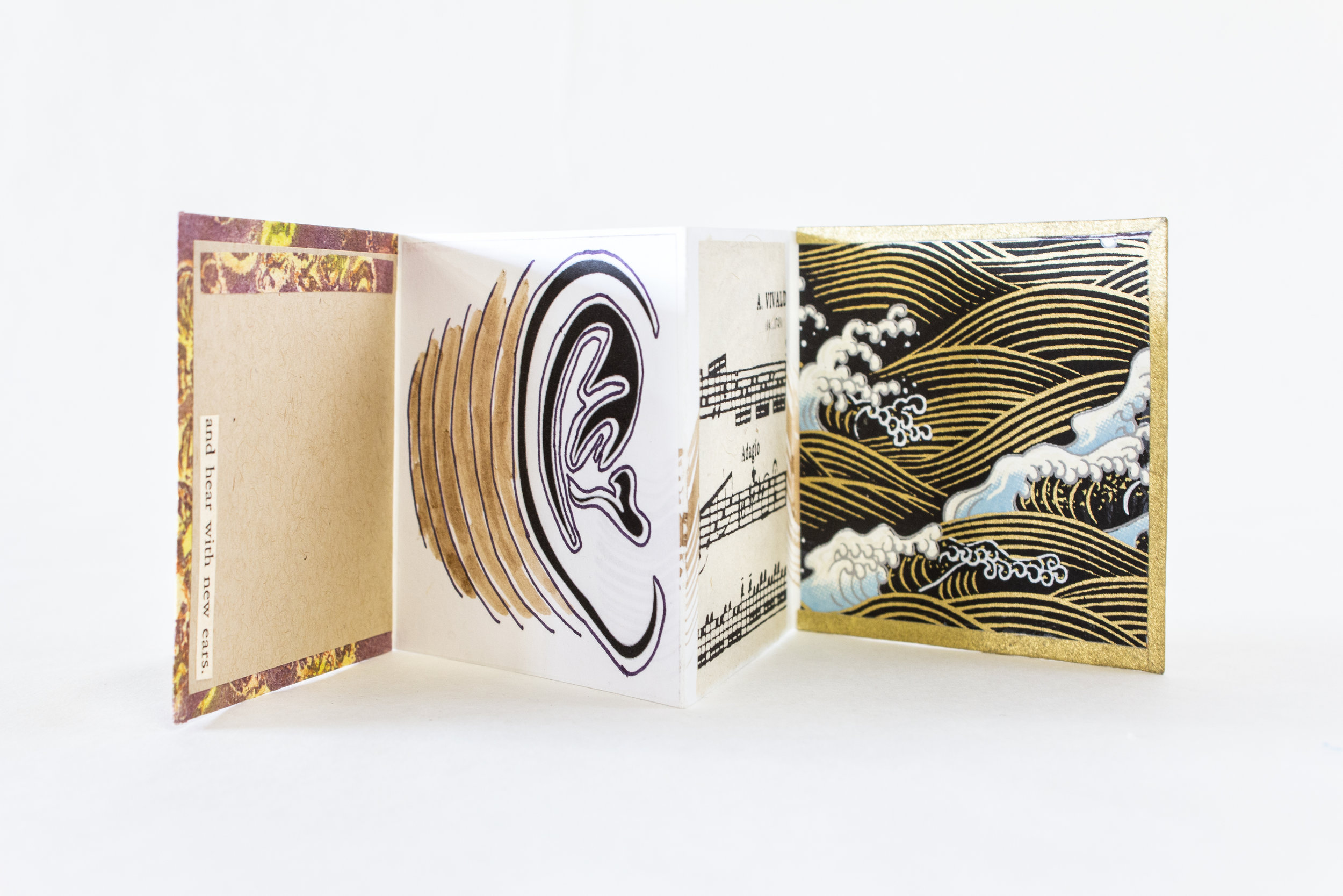 "Laurel Rogers, Passionato Books, ""The Five Senses,"" Mixed media: cork paper, collected design papers, 2018, $120, Northampton, MA"
