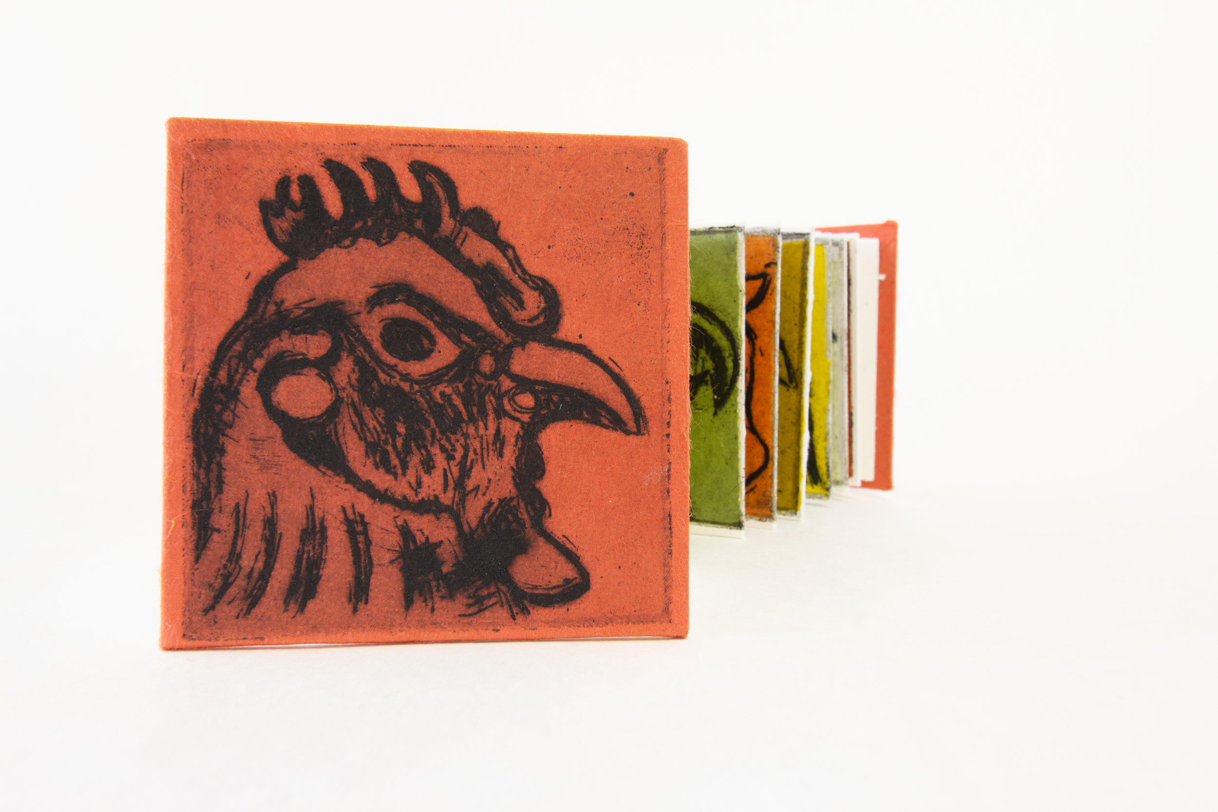 """David Johnson, """"Little Red Rooster,"""" Chine Colle Etching and Letterpress, 2018, $100, Muncie, IN"""