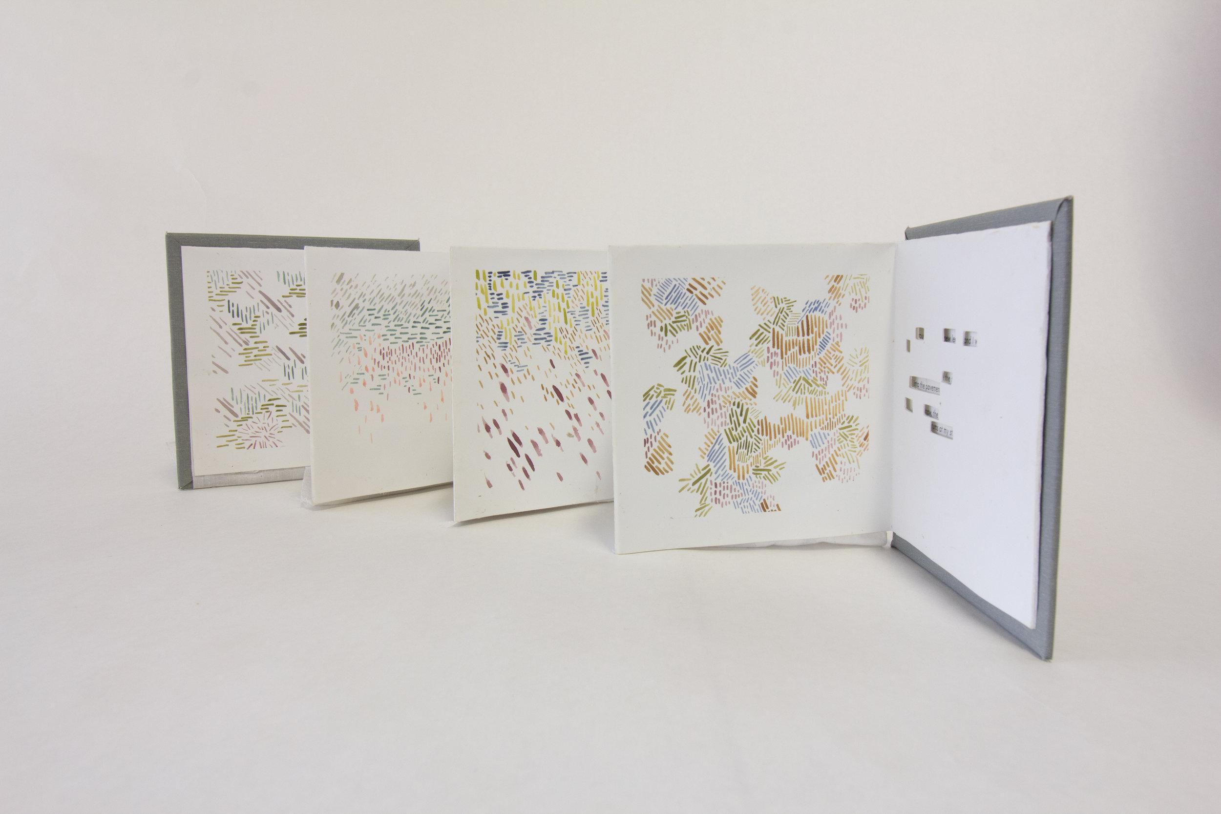 """Brooks Eisenbise, """"Summary of Heart Movements,"""" Digital print, embroidery on cotton, 2018, $100, Kalamazoo, MI"""