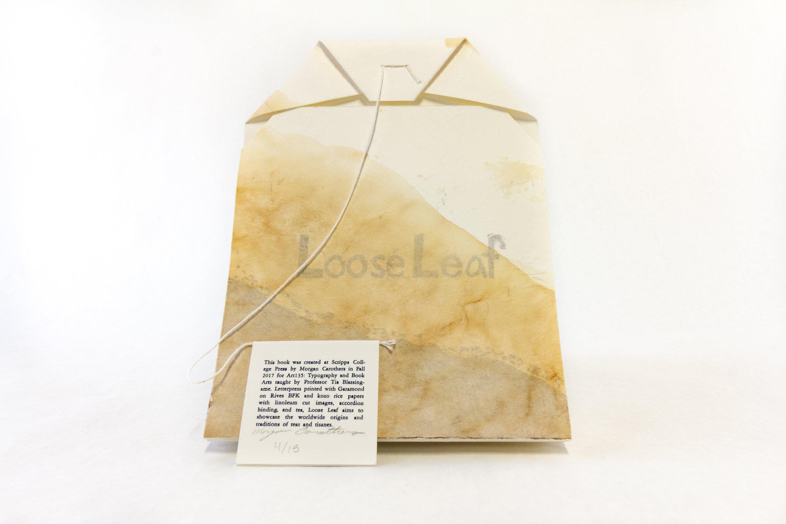 "Morgan Carothers, Scripps College Press, ""Loose Leaf,"" Handset letterpress, linocuts, tea staining, 2017, NFS, Claremont, CA"