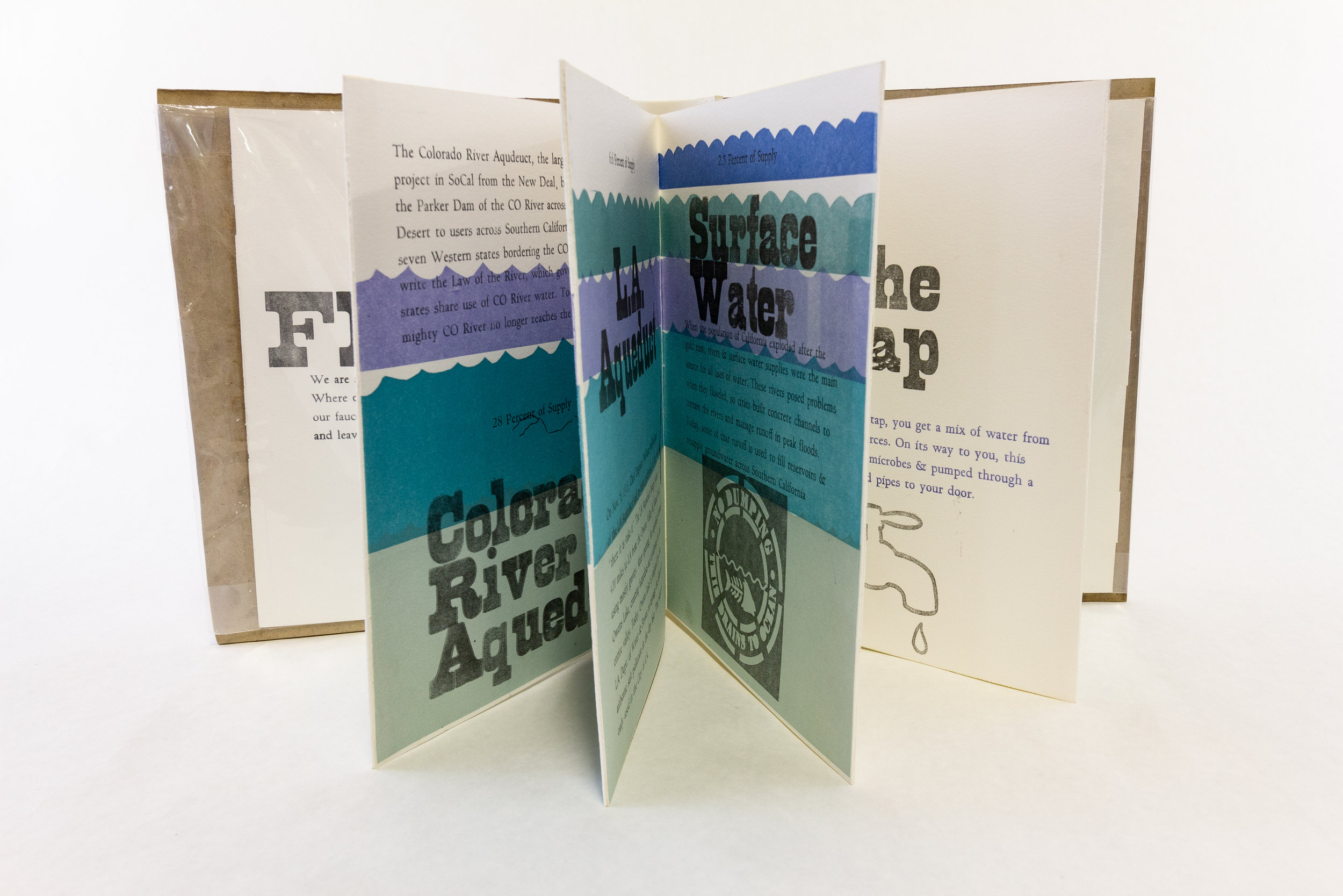 "Duncan Crowley, Scripps College Press, ""FLOWS,"" Handset letterpress, linocuts, cut vinyl, 2017, $185, Claremont, CA"