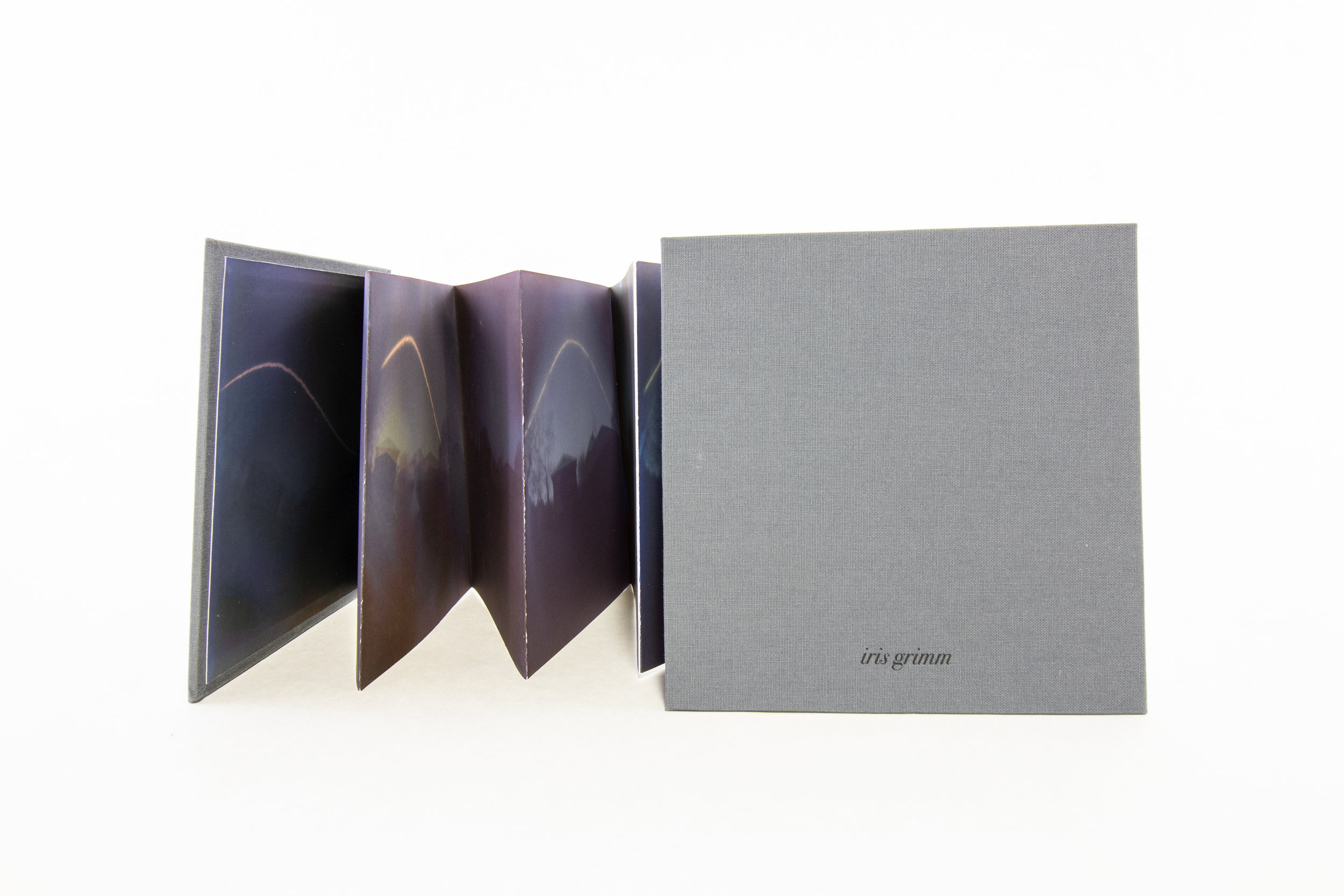 "Iris Grimm, ""Last Days of Winter,"" Solargraphs made with photographic paper, digitally printed, bound as and accordion, 2019, $250, Boston, MA"