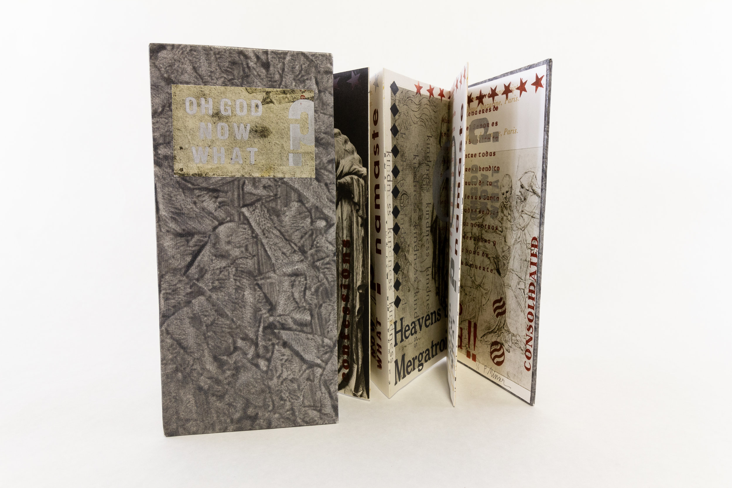 """Pauline Minser, """"Oh god now what?,"""" Bookarts, Accordion fold , collage and letterpress, 2017, $350, Santa Rosa, CA"""