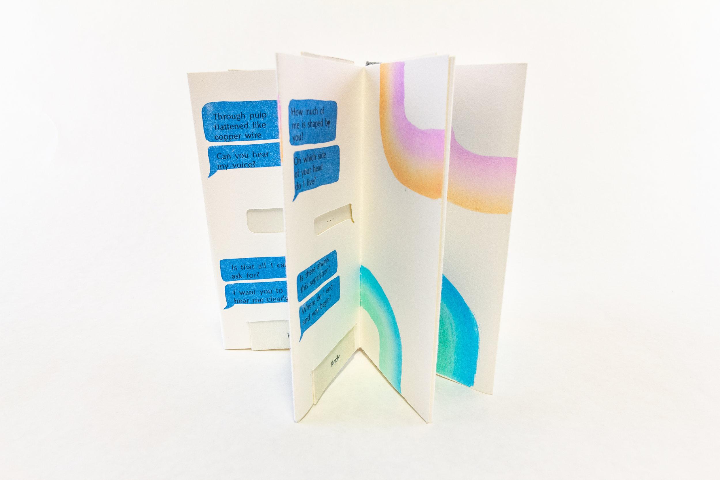 "Devin Powell, Scripps College Press, ""Message Received,"" Handset letterpress, linocuts, cut vinyl, Xerox transfer, watercolor, 2017, NFS, Claremont, CA"