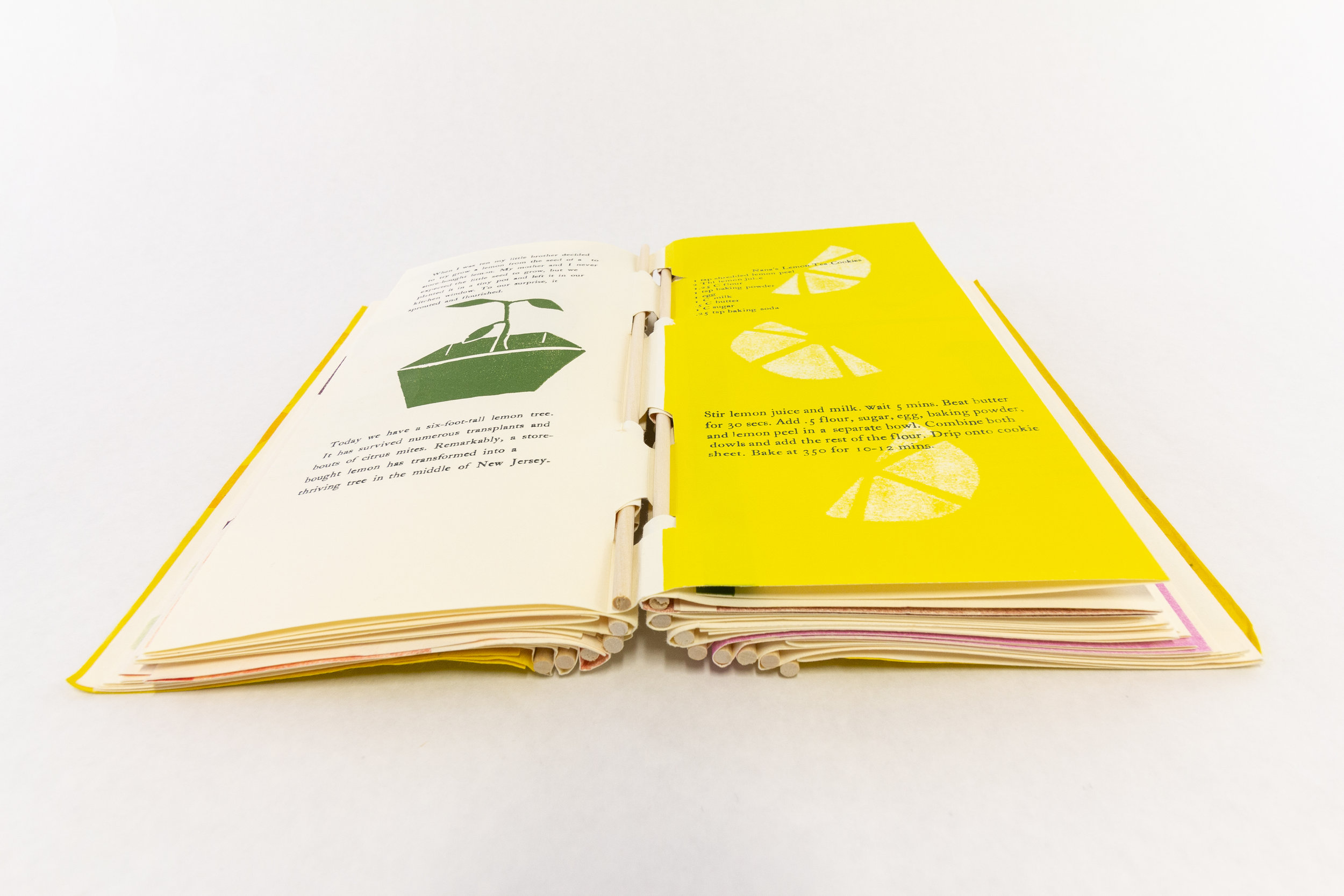 "Scripps College Press, ""Toot Toot! A Book About Fruit,"" Handset letterpress, pressure prints, linocuts, cut vinyl, 2018, $235, Claremont, CA"
