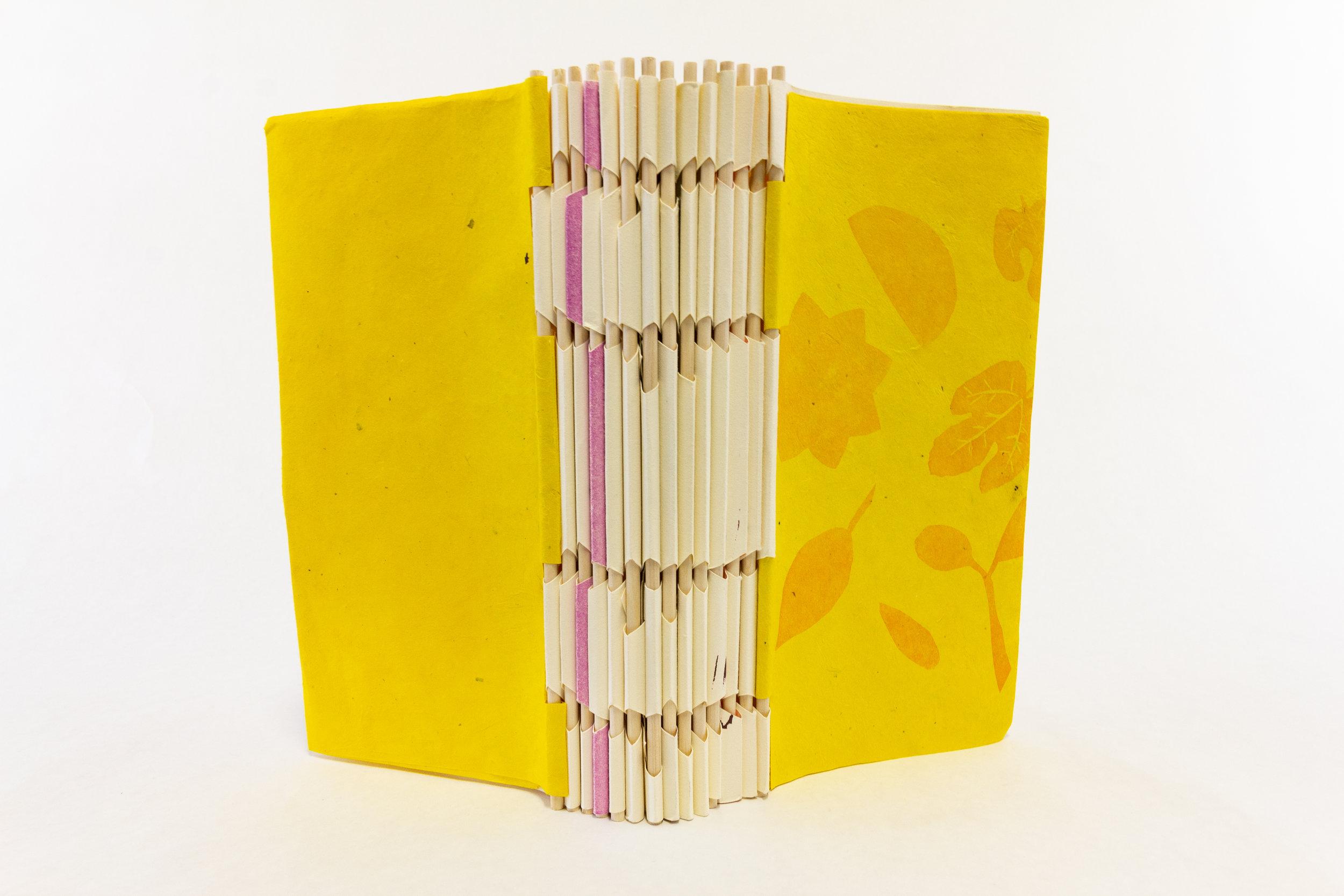 "Scripps College Press, ""Toot Toot! A Book About Fruit,"" Handset letterpress, pressure prints, linocuts, cut vinyl, 2018, $235, Claremont, CA"