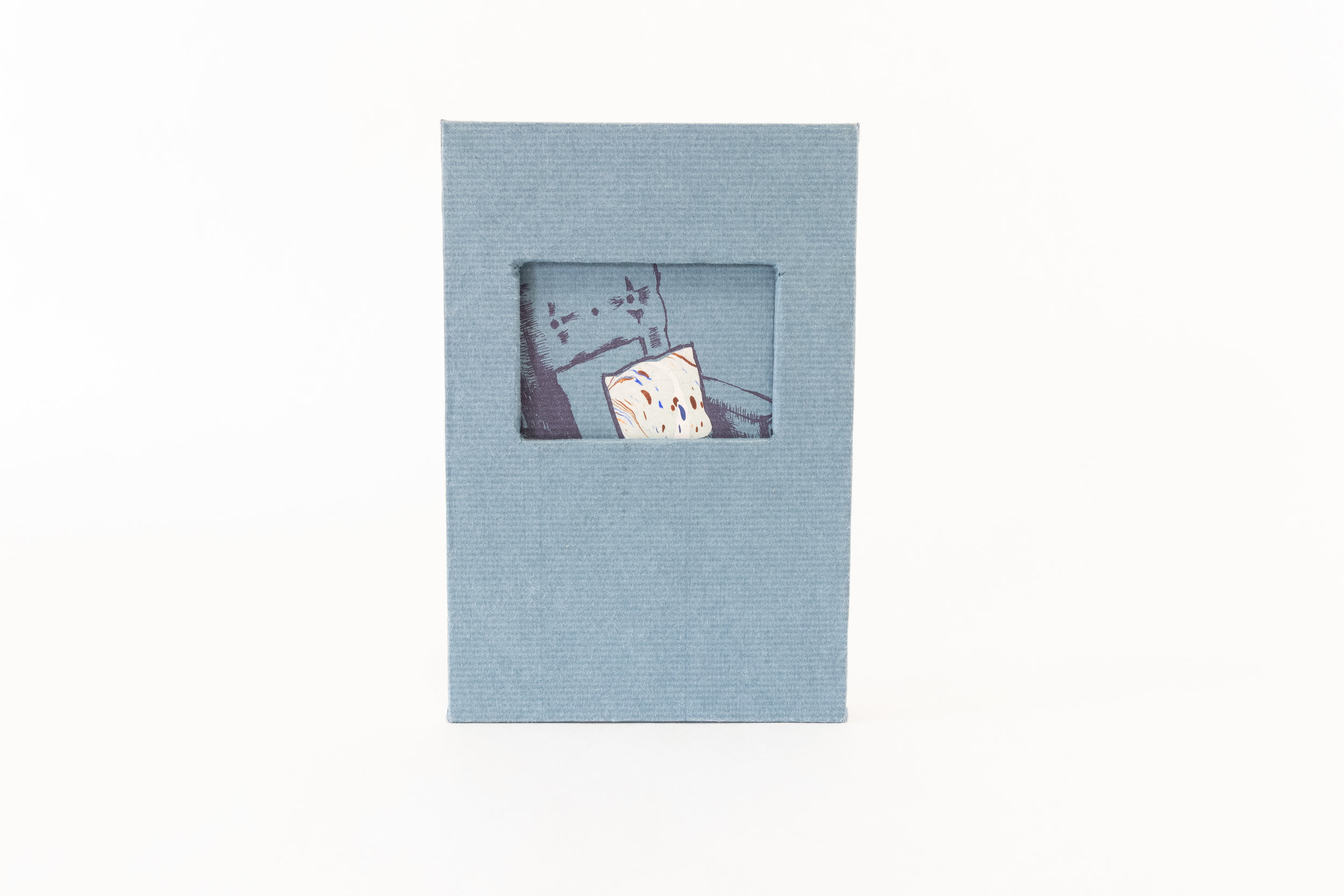 """Eileen Kitrick, """"For Rent,"""" Tri-fold leporello book and slipcase (letterpress-printed linocuts, photopolymer plates and pochoir), 2017, $280, Colorado Springs, CO"""